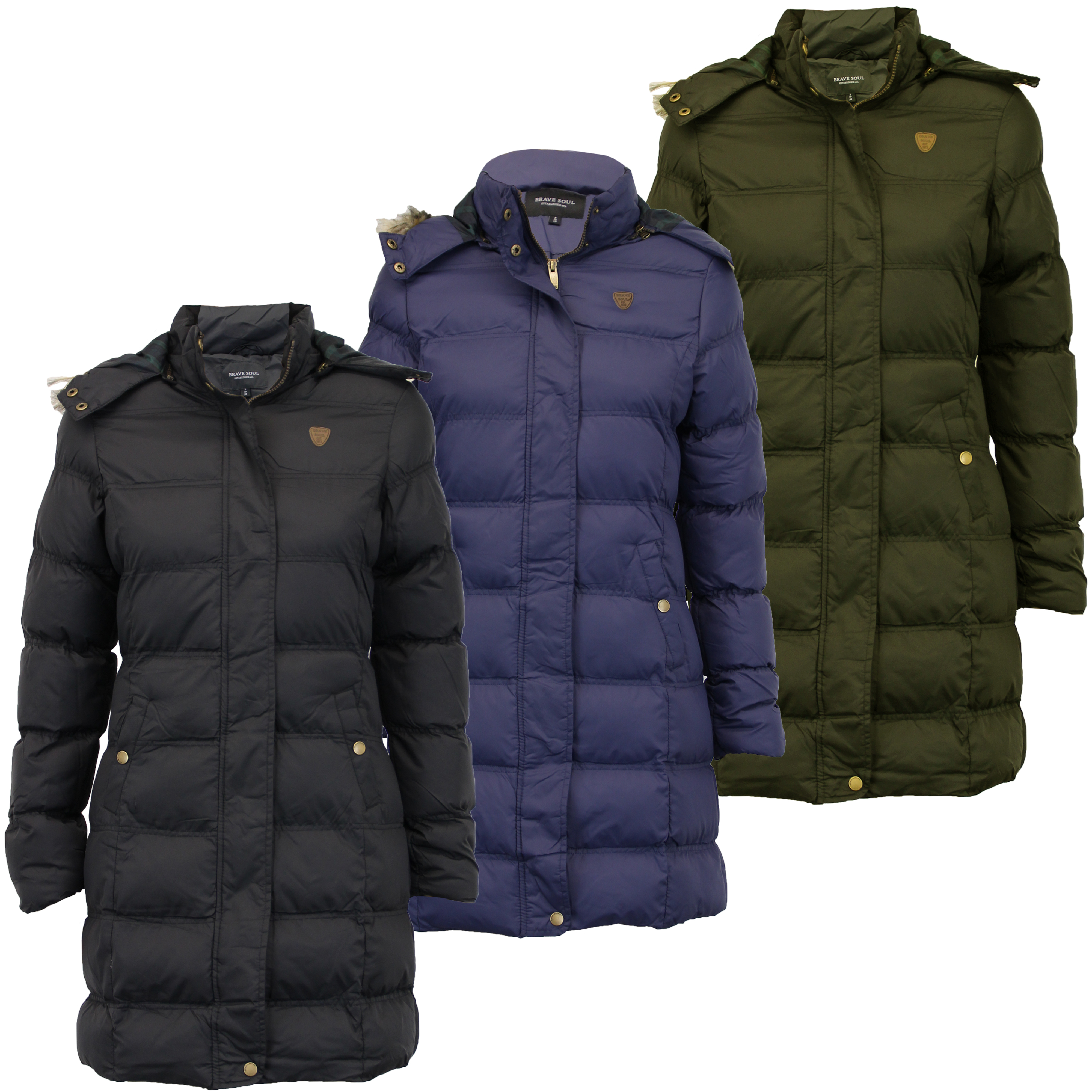 BRAVE SOUL LADIES PADDED HOODED JACKET WOMENS TECH BADGE PARKA THICK HEAVY COAT