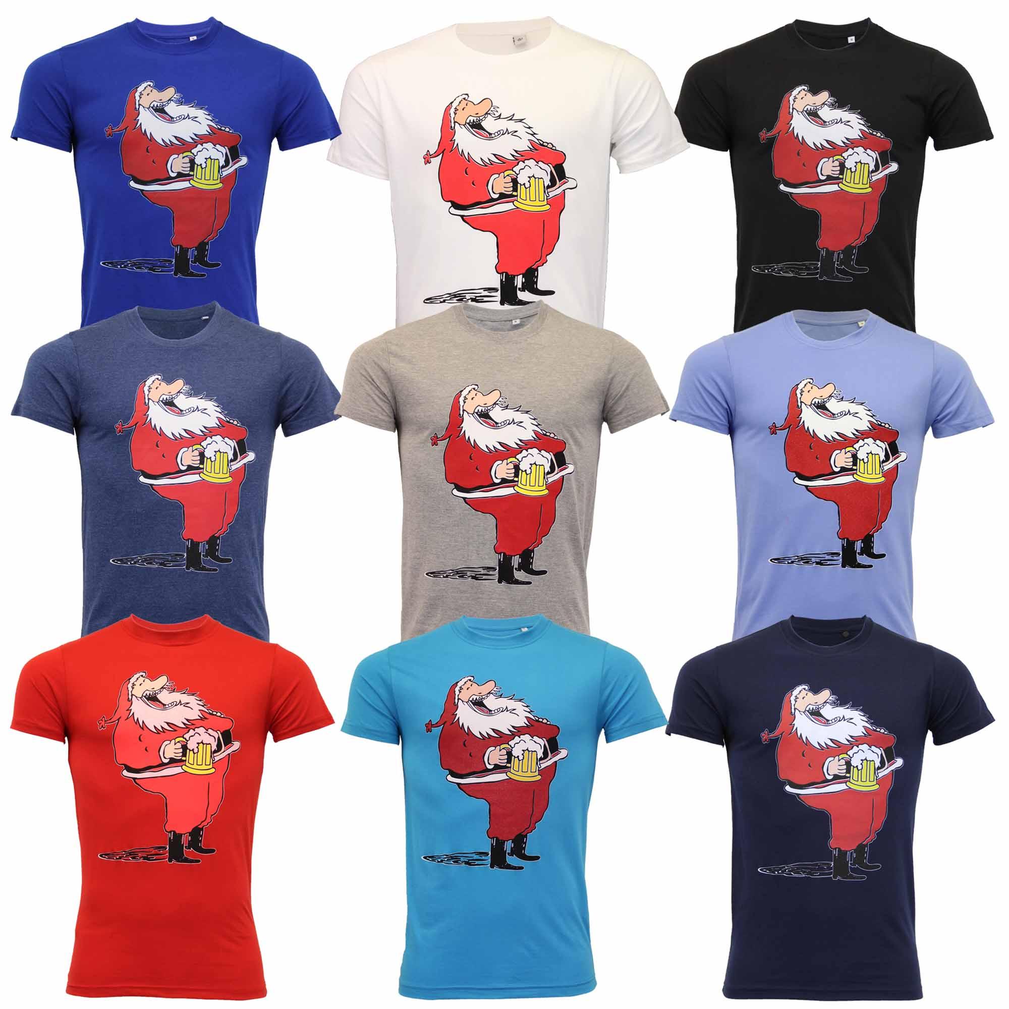 Homme Noël T Shirt De Noël Père Noël Imprimé Festif Nouveauté Coton Fashion