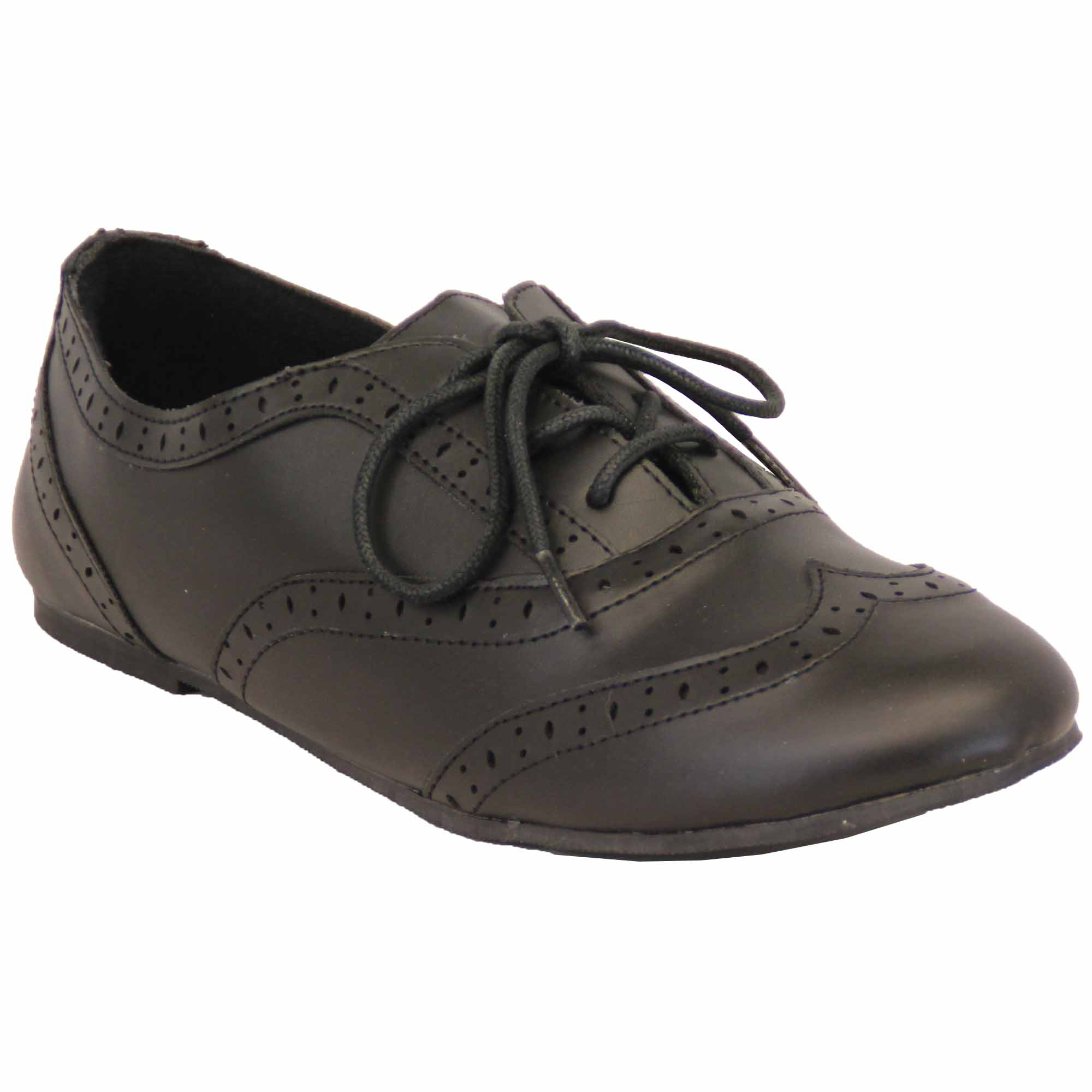 Girls School Shoes Matt Brogue Wedding Kids Leather Look ...