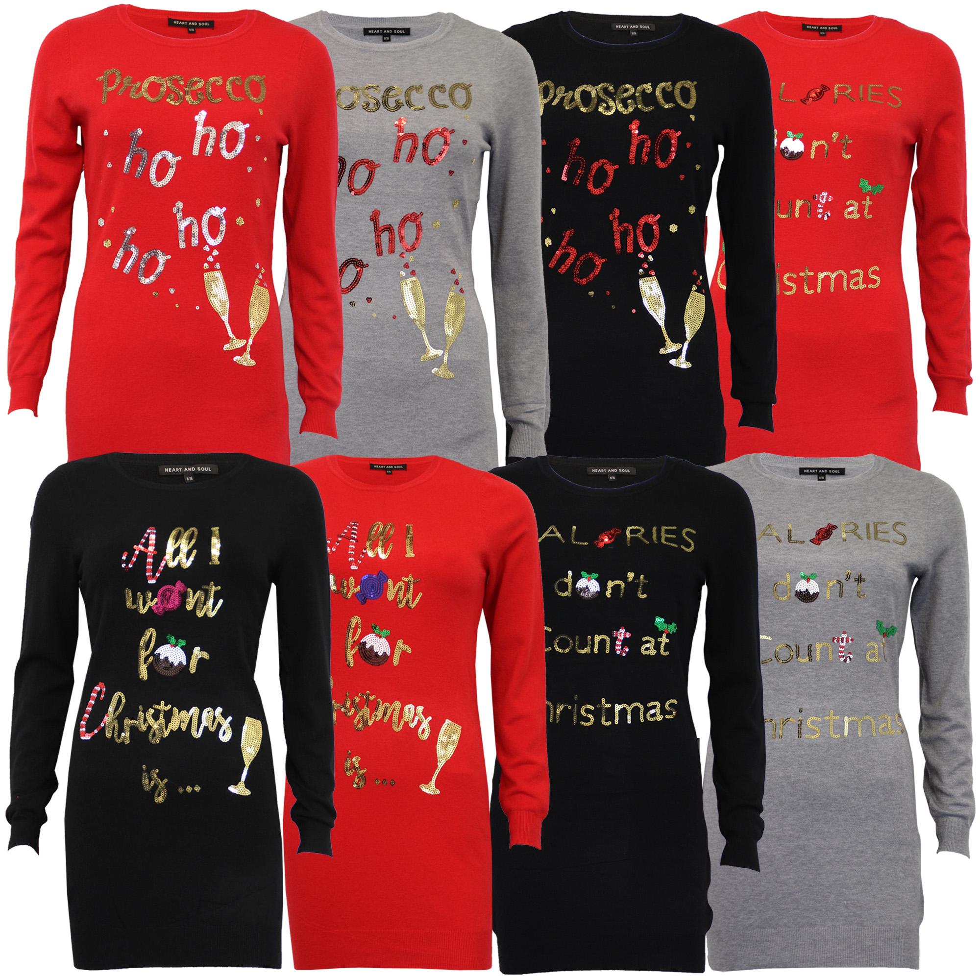 Damen-Xmas-Lang-Pullover-Damen-Kleid-Weihnachten-Glitzernde-Pailletten-Neuheit-Party-NEU Indexbild 4