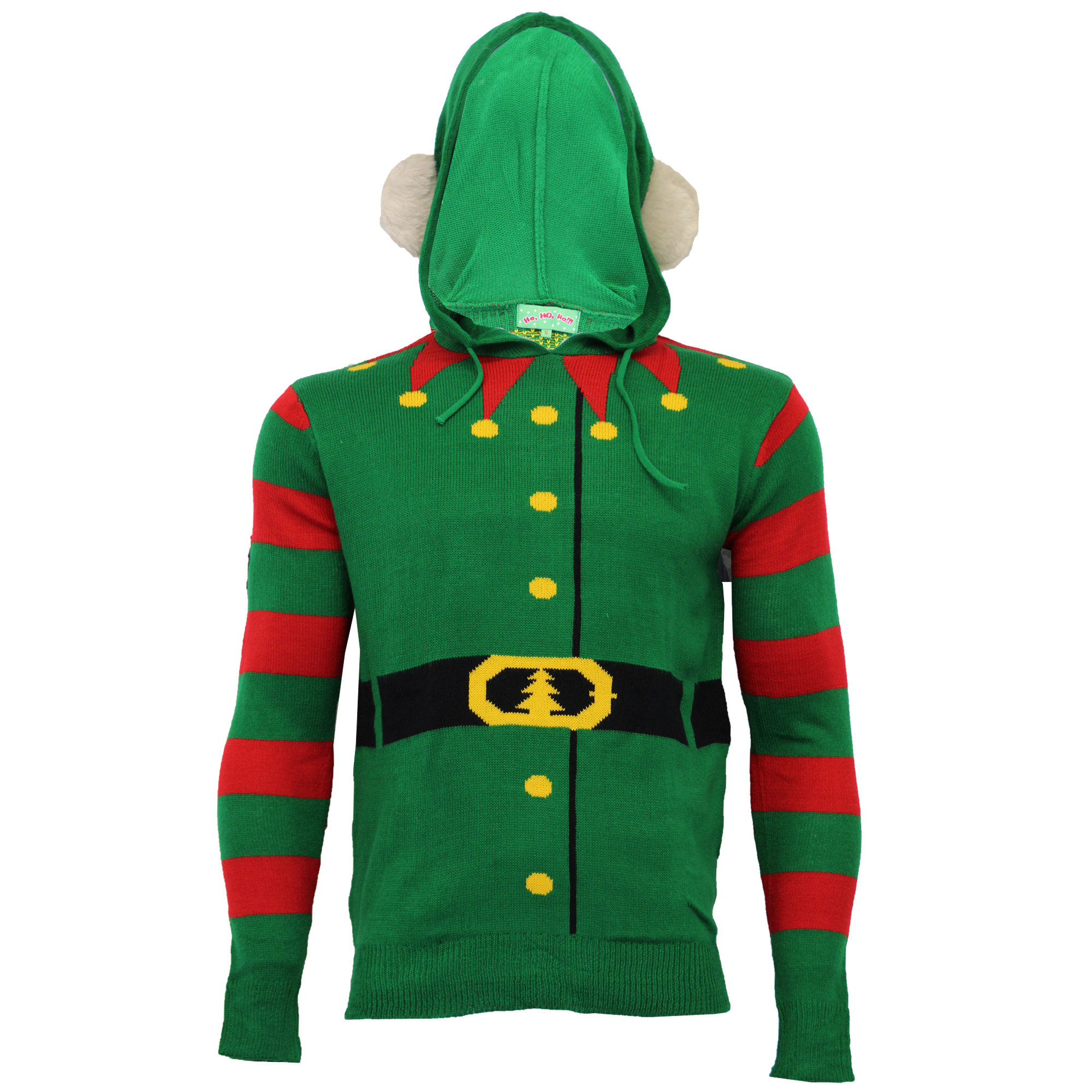 Mens Novelty Funny Knitted Christmas Jumper Xmas Overhead Hoody Bells Buddy Elf