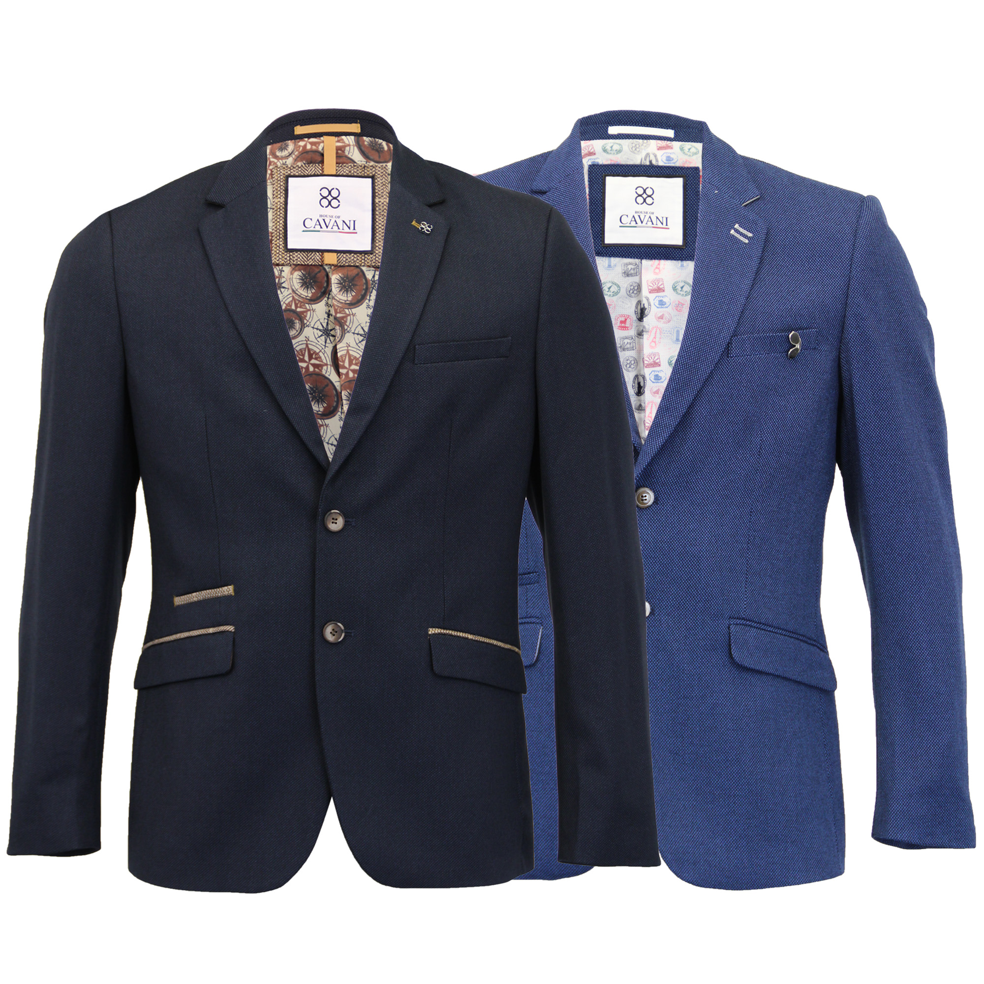 Mens-Blazer-Cavani-Coat-Dinner-Suit-Jacket-Button-Lined-Patches-Wedding-Formal thumbnail 3