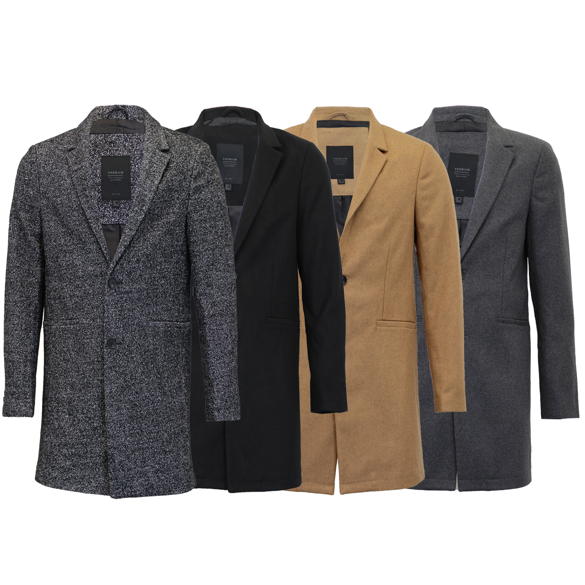 Mens Wool Mix Jacket Threadbare Long Trench Coat Collared Button