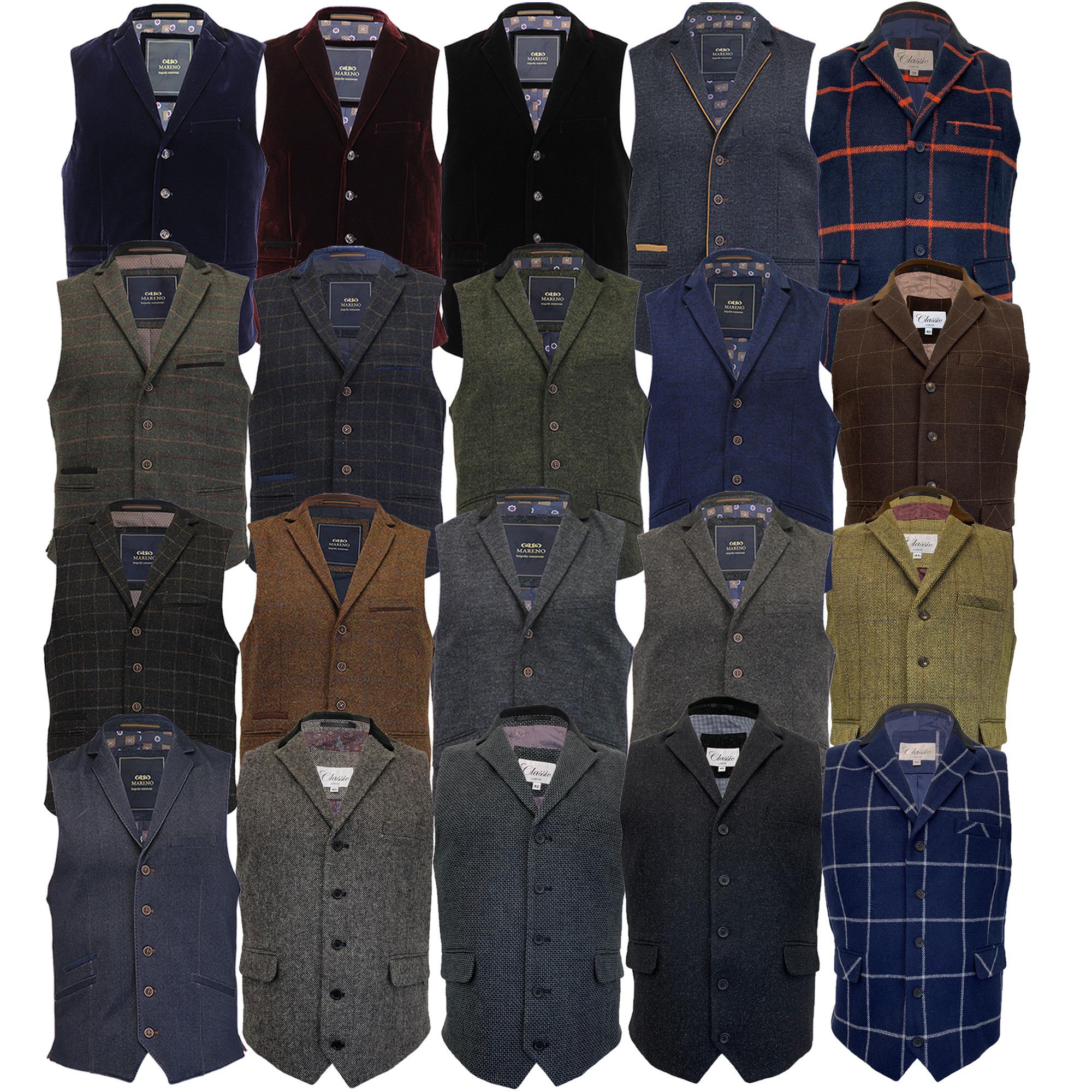 Mens-MARENO-Waistcoat-Wool-Mix-Formal-Vest-Herringbone-Tweed-Check-Velvet-Lined thumbnail 8