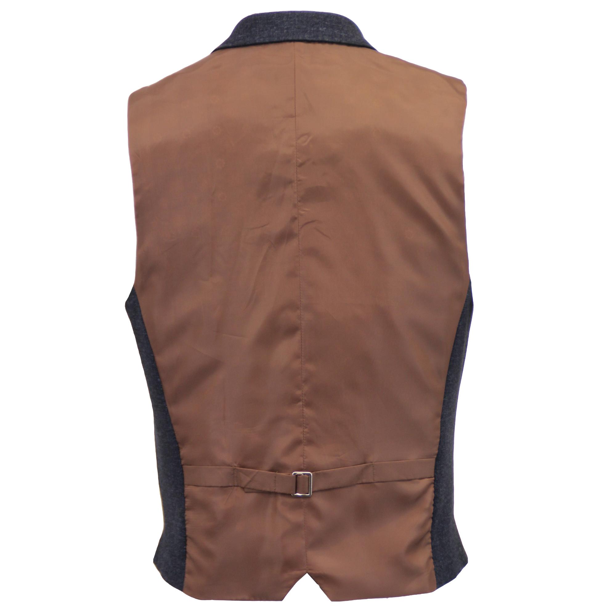 Mezcla-de-lana-para-hombre-mareno-Chaleco-Chaleco-Formal-Herringbone-Tweed-Cuadros-Forrado-de miniatura 18