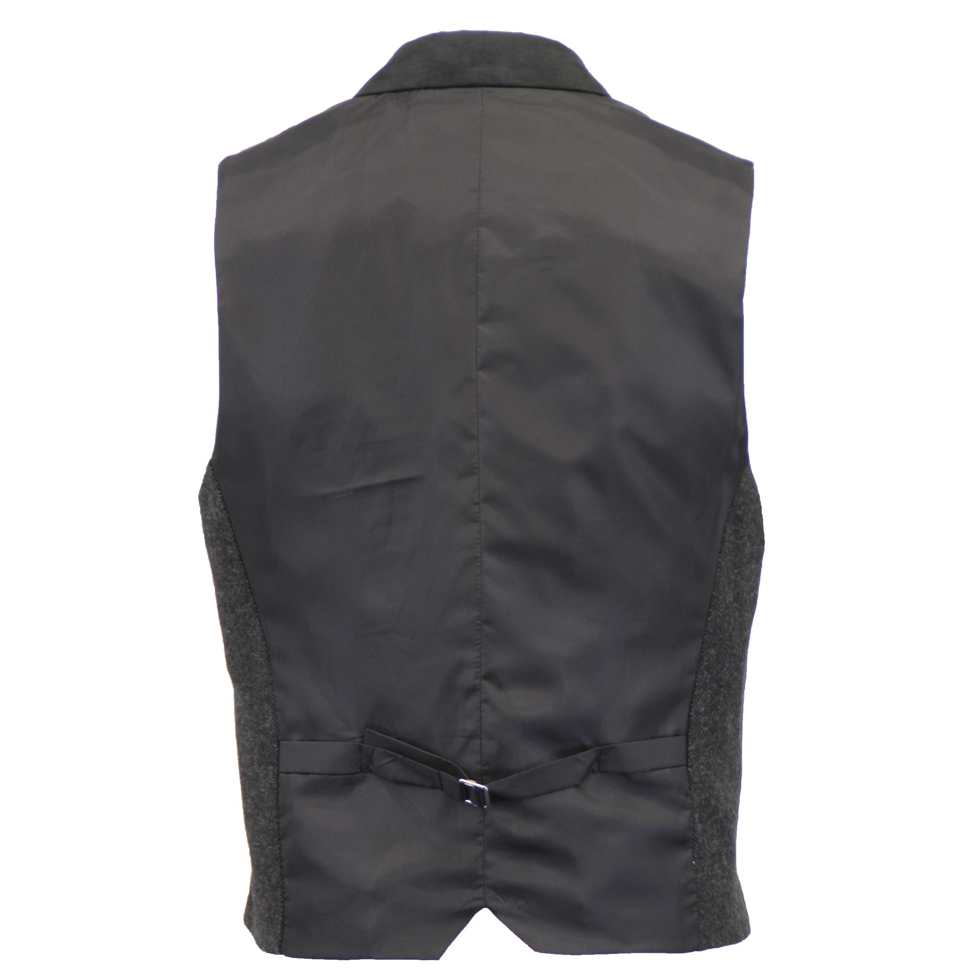 Mezcla-de-lana-para-hombre-mareno-Chaleco-Chaleco-Formal-Herringbone-Tweed-Cuadros-Forrado-de miniatura 12