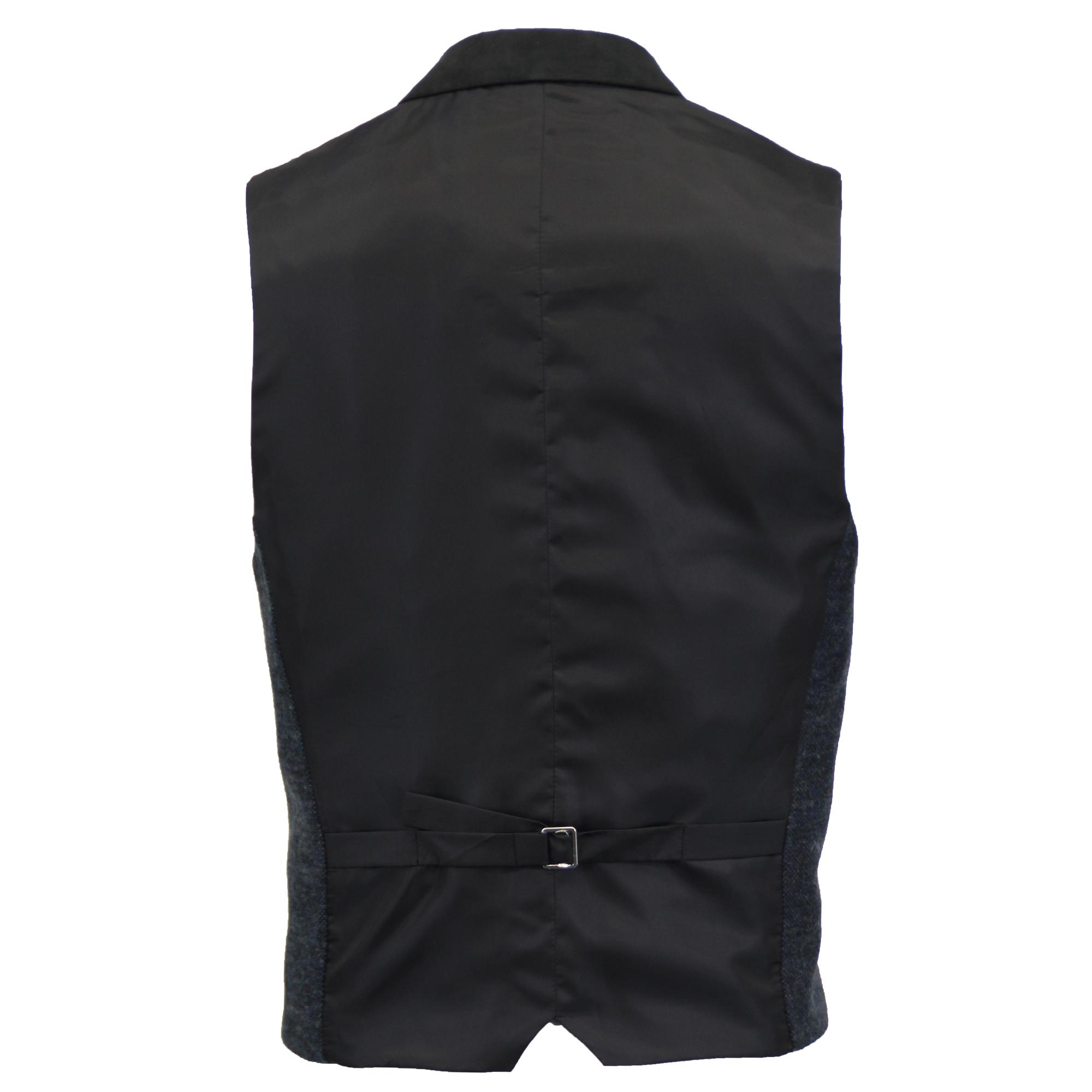 Mezcla-de-lana-para-hombre-mareno-Chaleco-Chaleco-Formal-Herringbone-Tweed-Cuadros-Forrado-de miniatura 15
