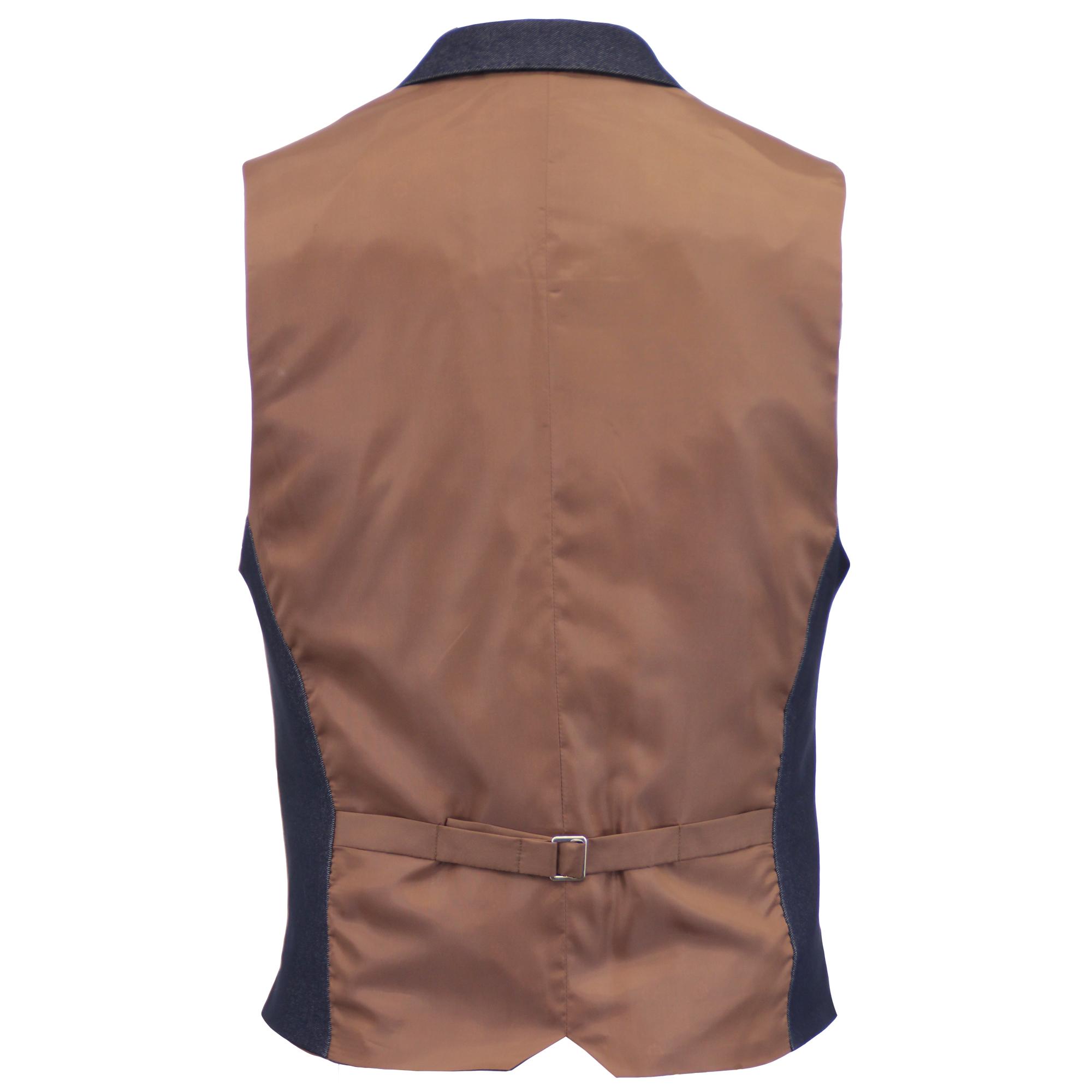 Mezcla-de-lana-para-hombre-mareno-Chaleco-Chaleco-Formal-Herringbone-Tweed-Cuadros-Forrado-de miniatura 9