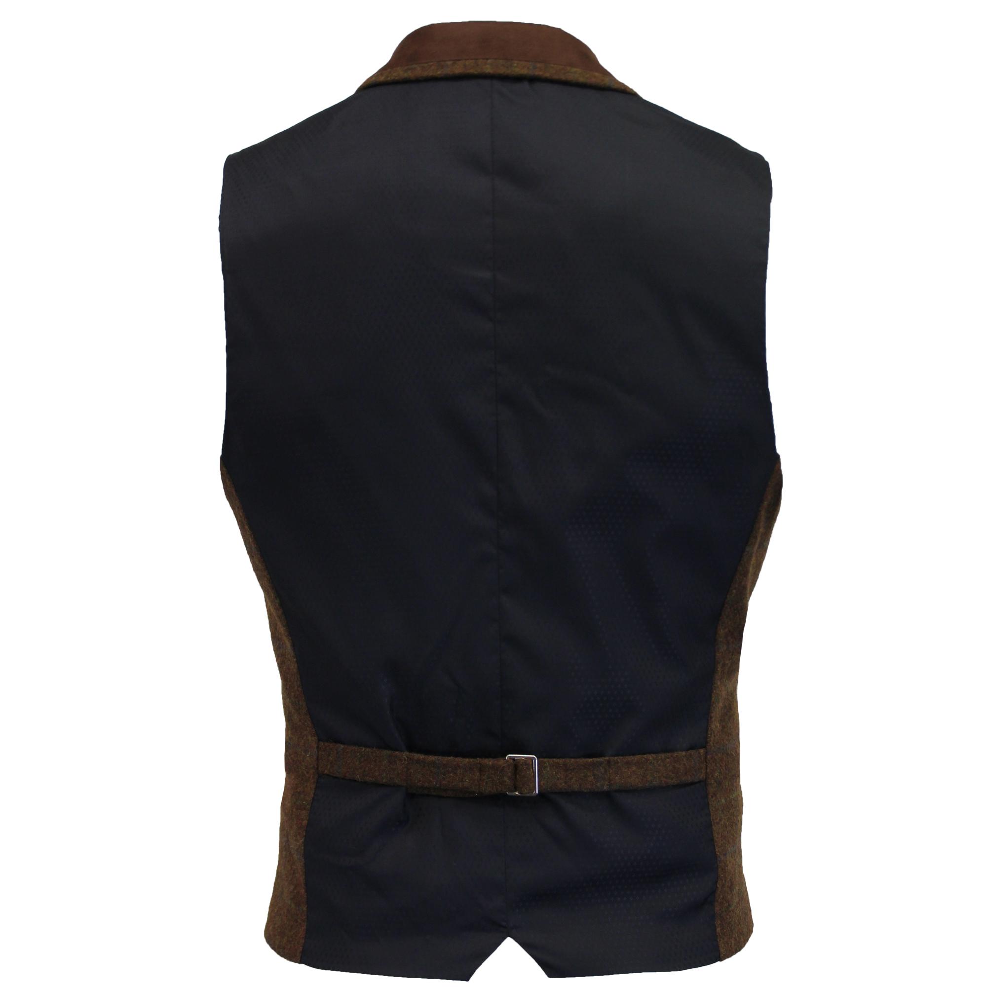 Mezcla-de-lana-para-hombre-mareno-Chaleco-Chaleco-Formal-Herringbone-Tweed-Cuadros-Forrado-de miniatura 33