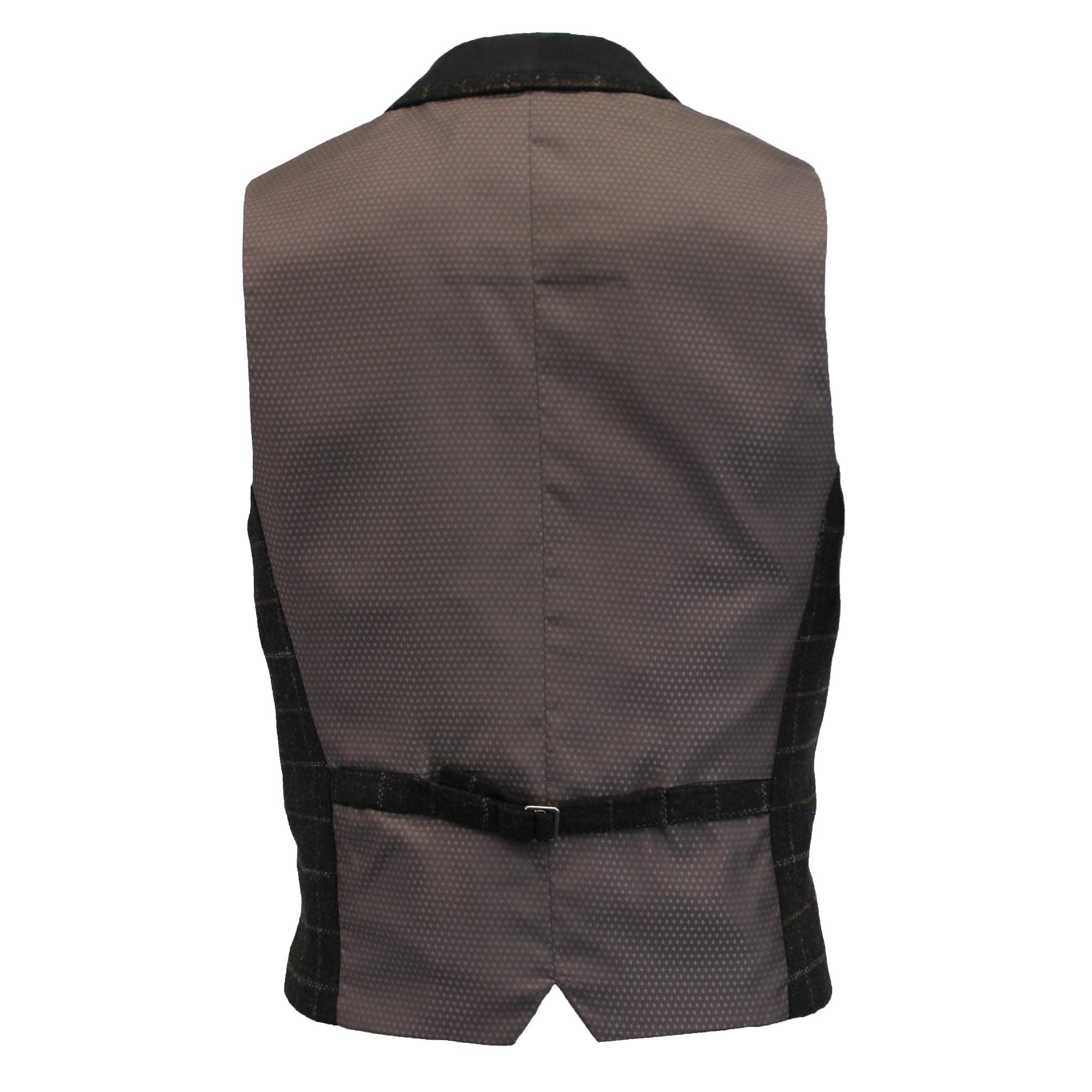 Mezcla-de-lana-para-hombre-mareno-Chaleco-Chaleco-Formal-Herringbone-Tweed-Cuadros-Forrado-de miniatura 6