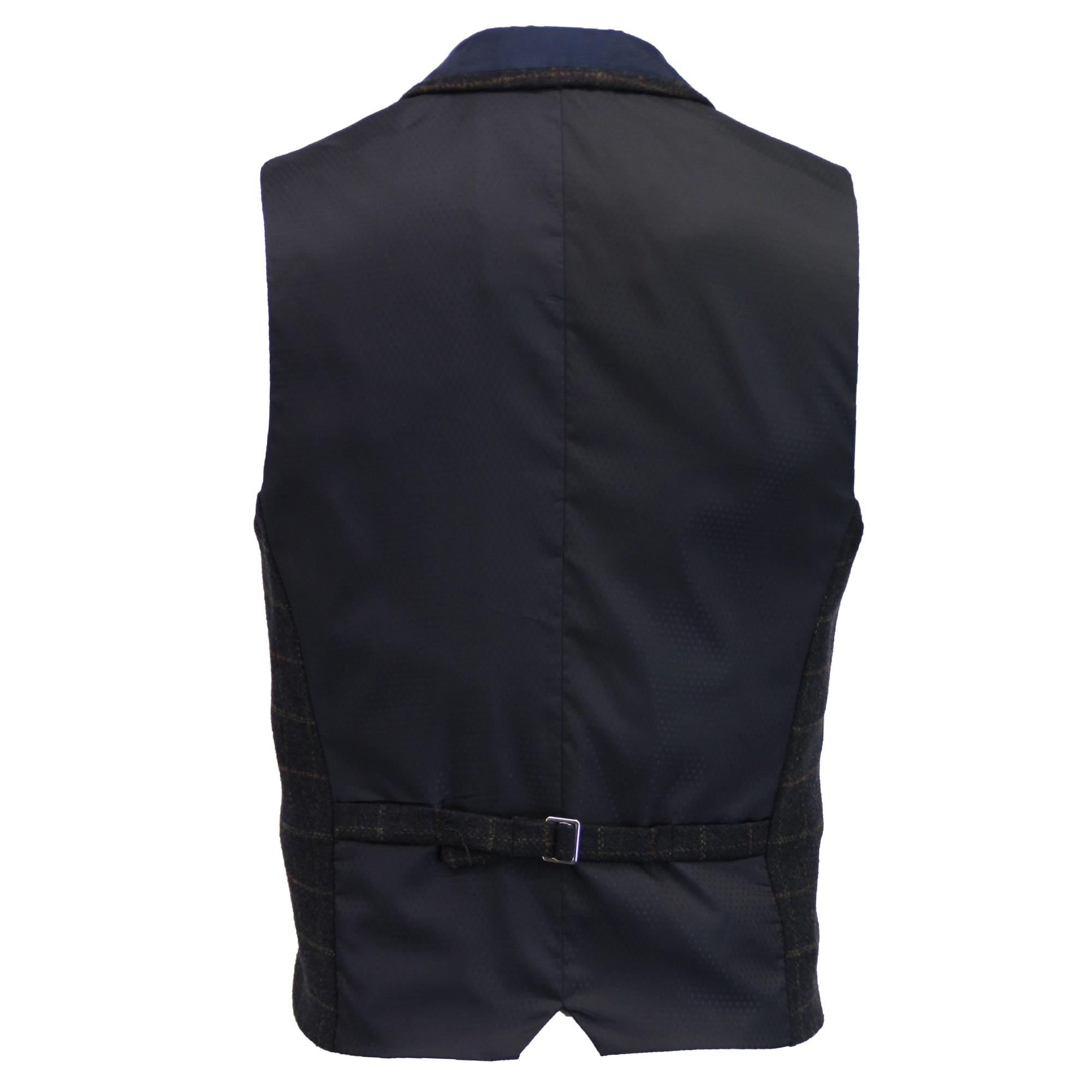 Mezcla-de-lana-para-hombre-mareno-Chaleco-Chaleco-Formal-Herringbone-Tweed-Cuadros-Forrado-de miniatura 24