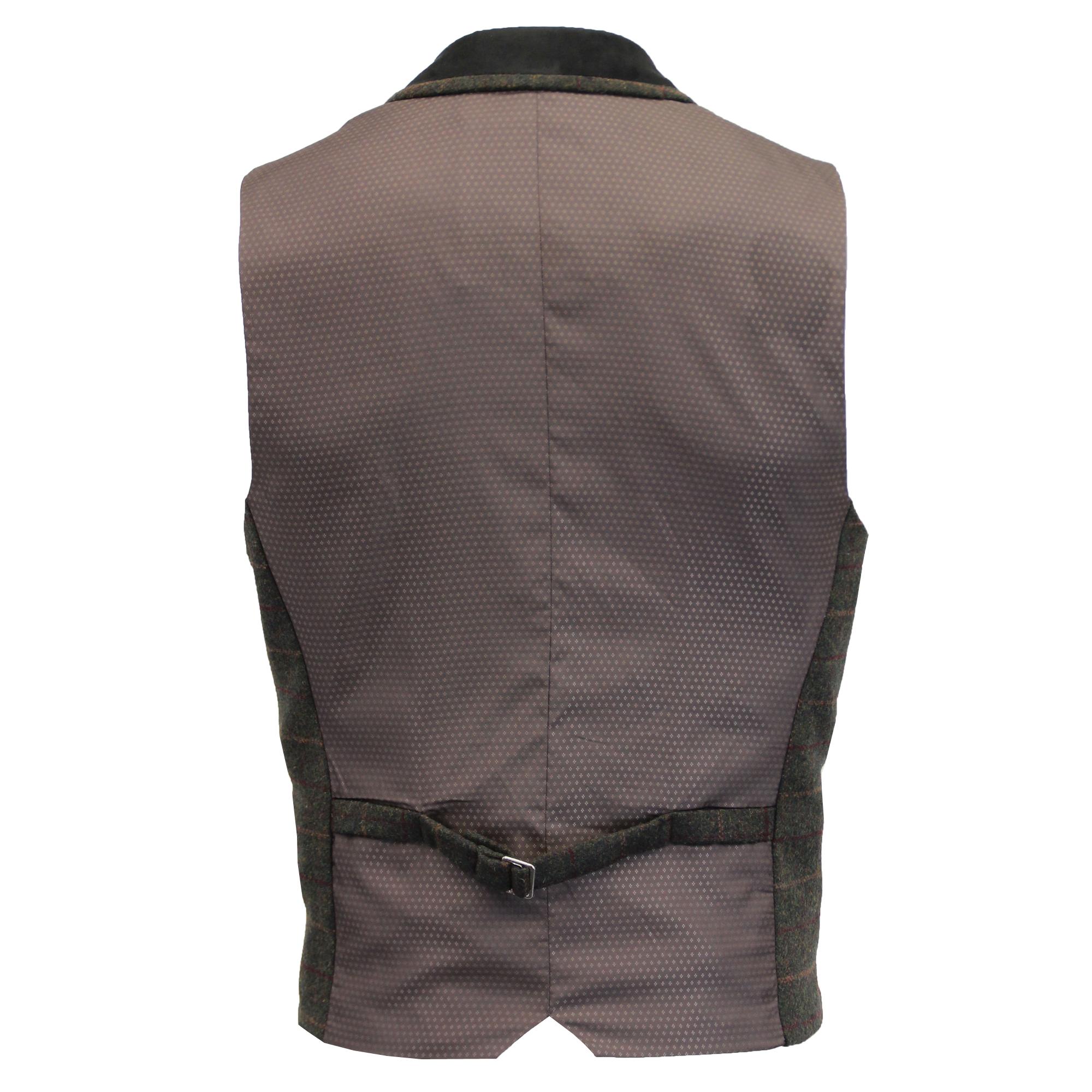 Mezcla-de-lana-para-hombre-mareno-Chaleco-Chaleco-Formal-Herringbone-Tweed-Cuadros-Forrado-de miniatura 30