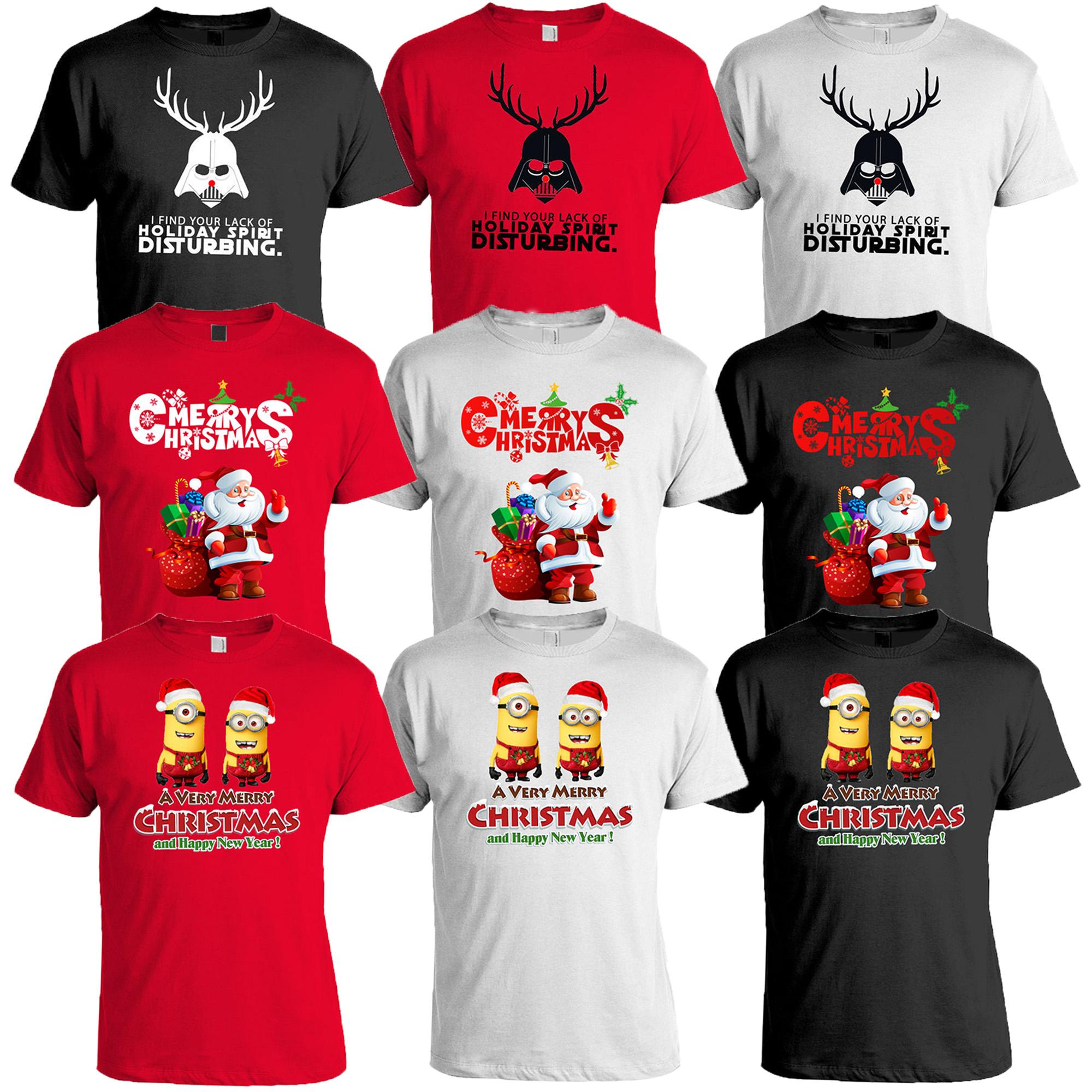 af4ce9b01382 Details about Mens Christmas T Shirt Xmas MINIONS DARTH VADER Santa Claus  Print Novelty Cotton