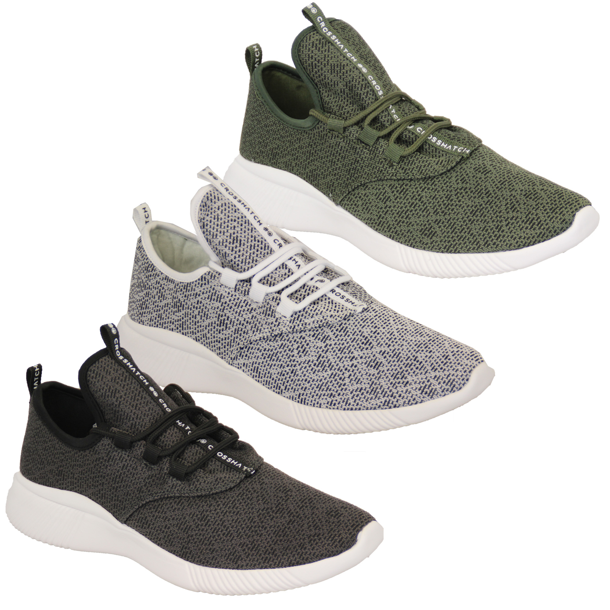 Mens-Trainers-Crosshatch-Running-Speed-Lace-Up-Knit-Mesh-Sports-Gym-Shoes-Casual thumbnail 4