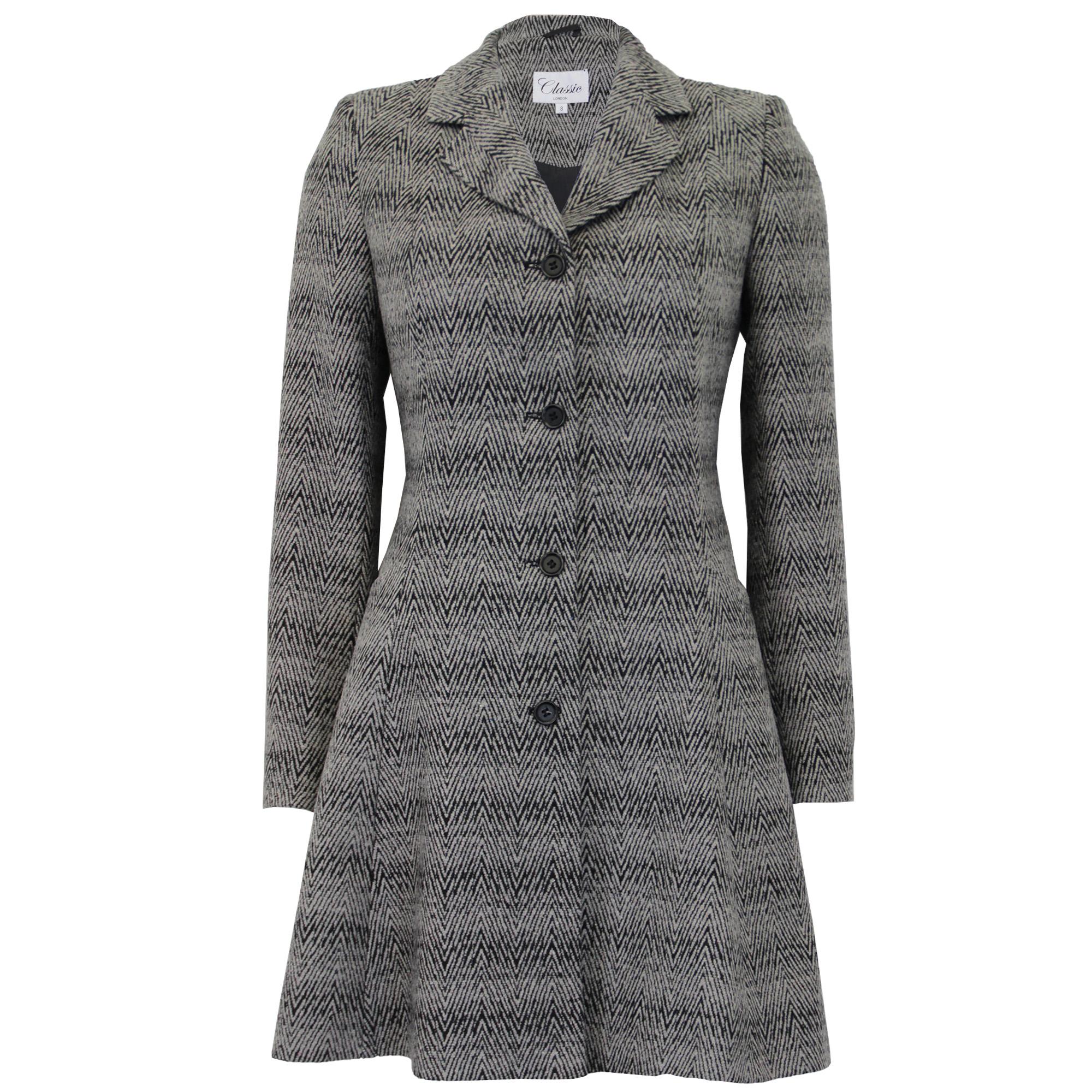 ladies coat womens jacket wool look belt long trench warm winter new ebay