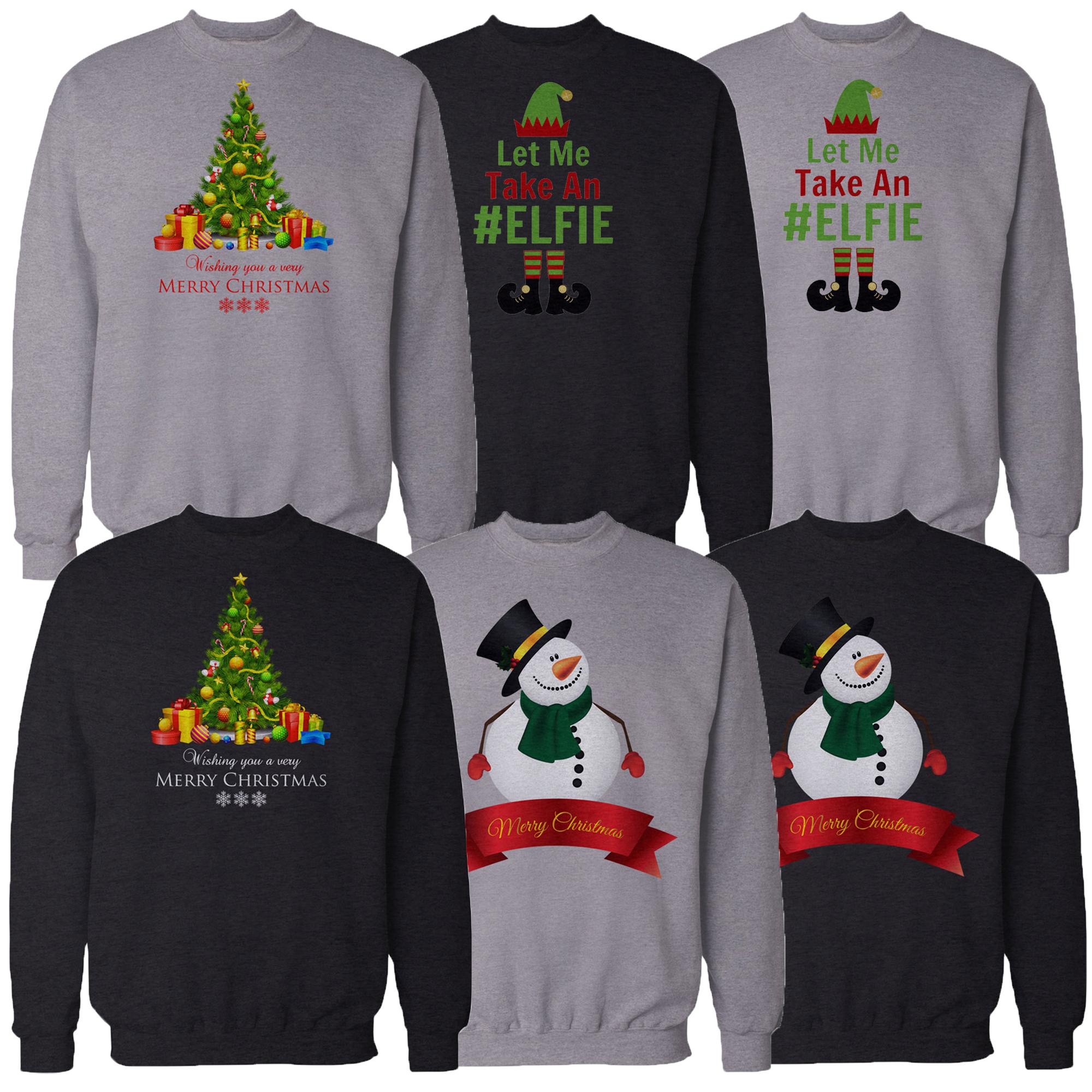 Mens Christmas Sweatshirt Novelty Xmas Snow Man Elf Print Sweater