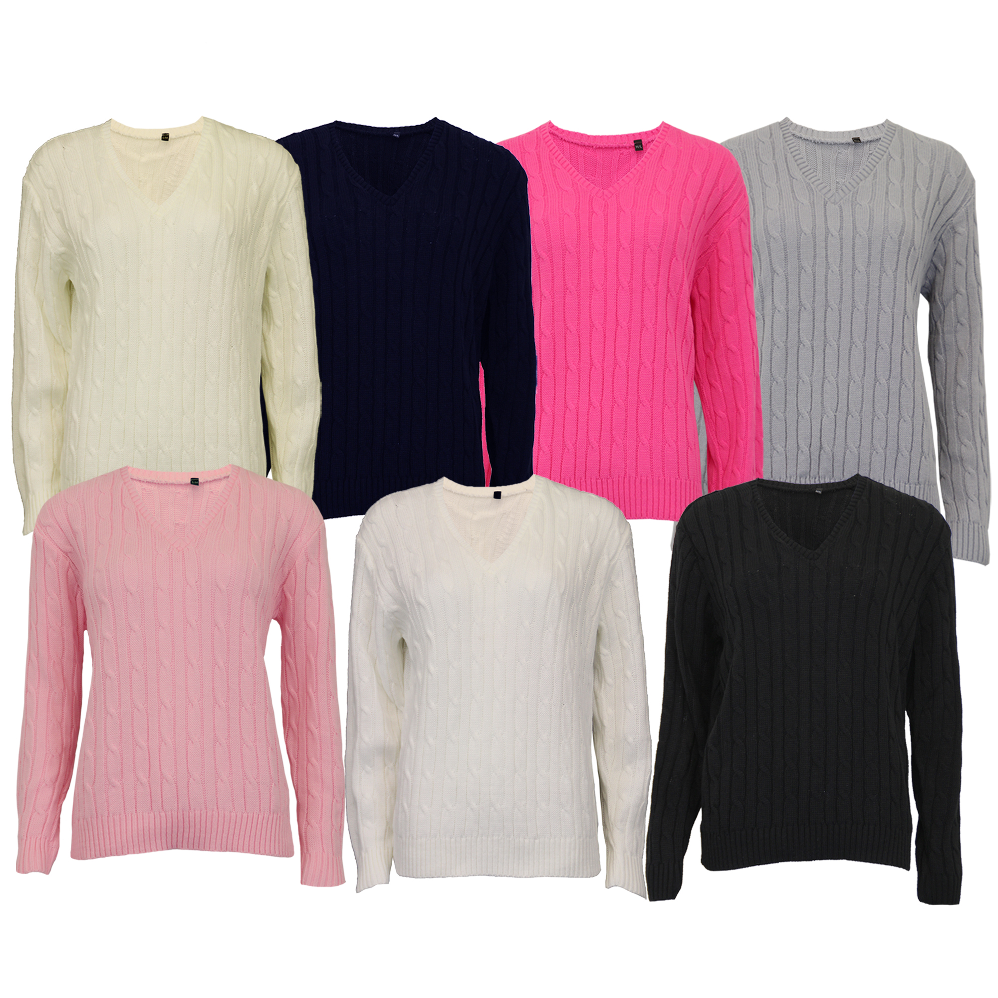 15c9ba3dc02fe Ladies Cable Knitted V Neck Jumper Womens Chunky Top Long Sleeved ...