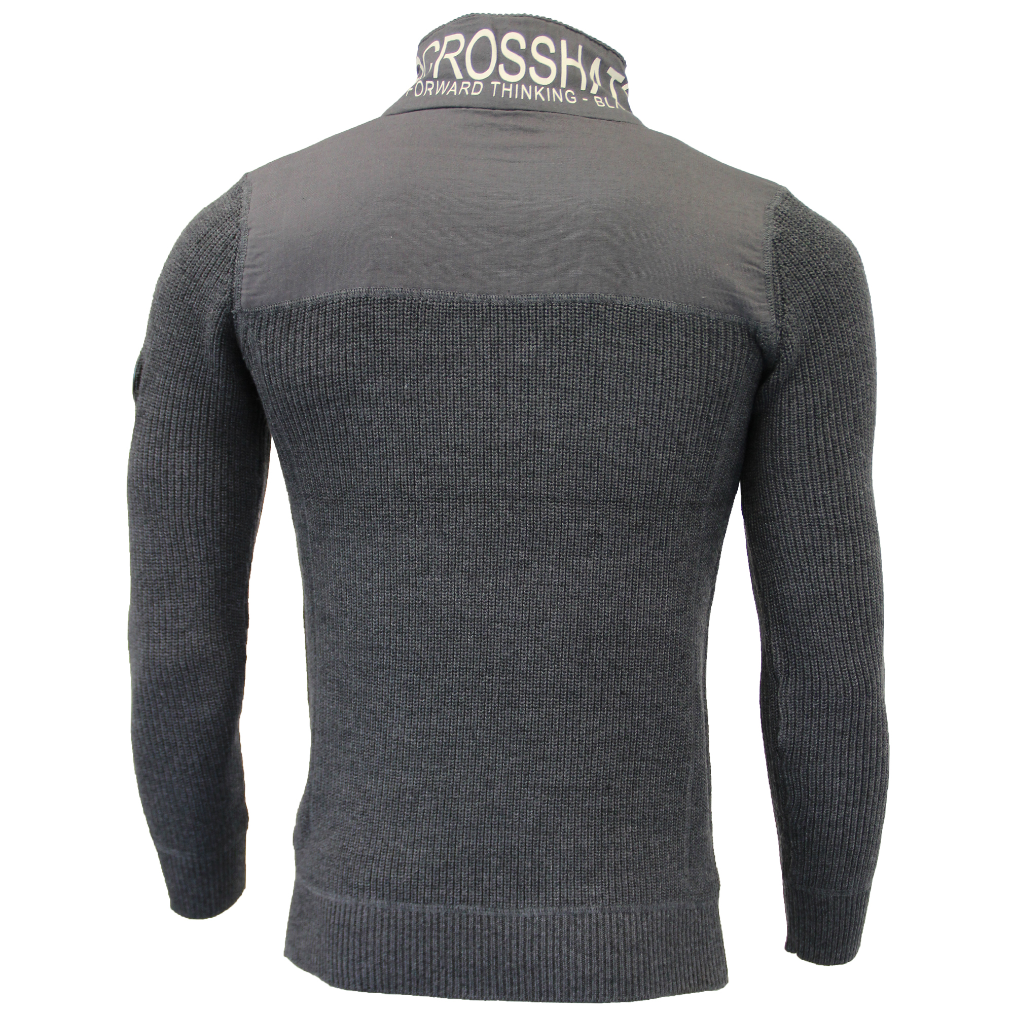 Mens-Knitted-Cotton-Crosshatch-Jumper-Sweater-Pullover-Waffle-Top-Zip-Winter-New thumbnail 5