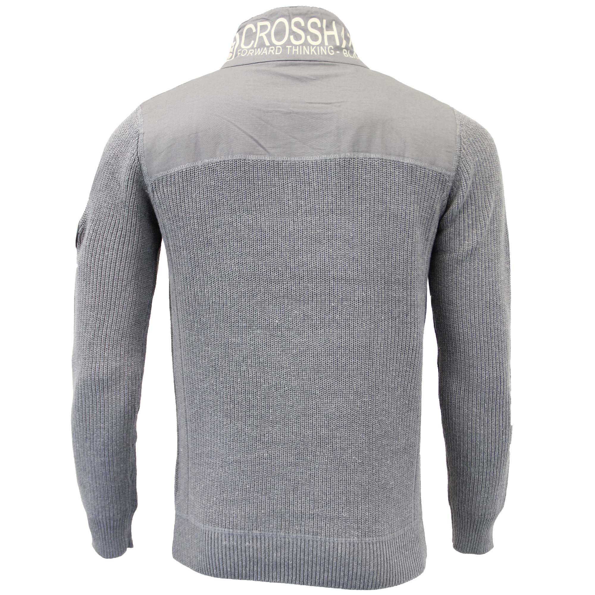 Mens-Knitted-Cotton-Crosshatch-Jumper-Sweater-Pullover-Waffle-Top-Zip-Winter-New thumbnail 11