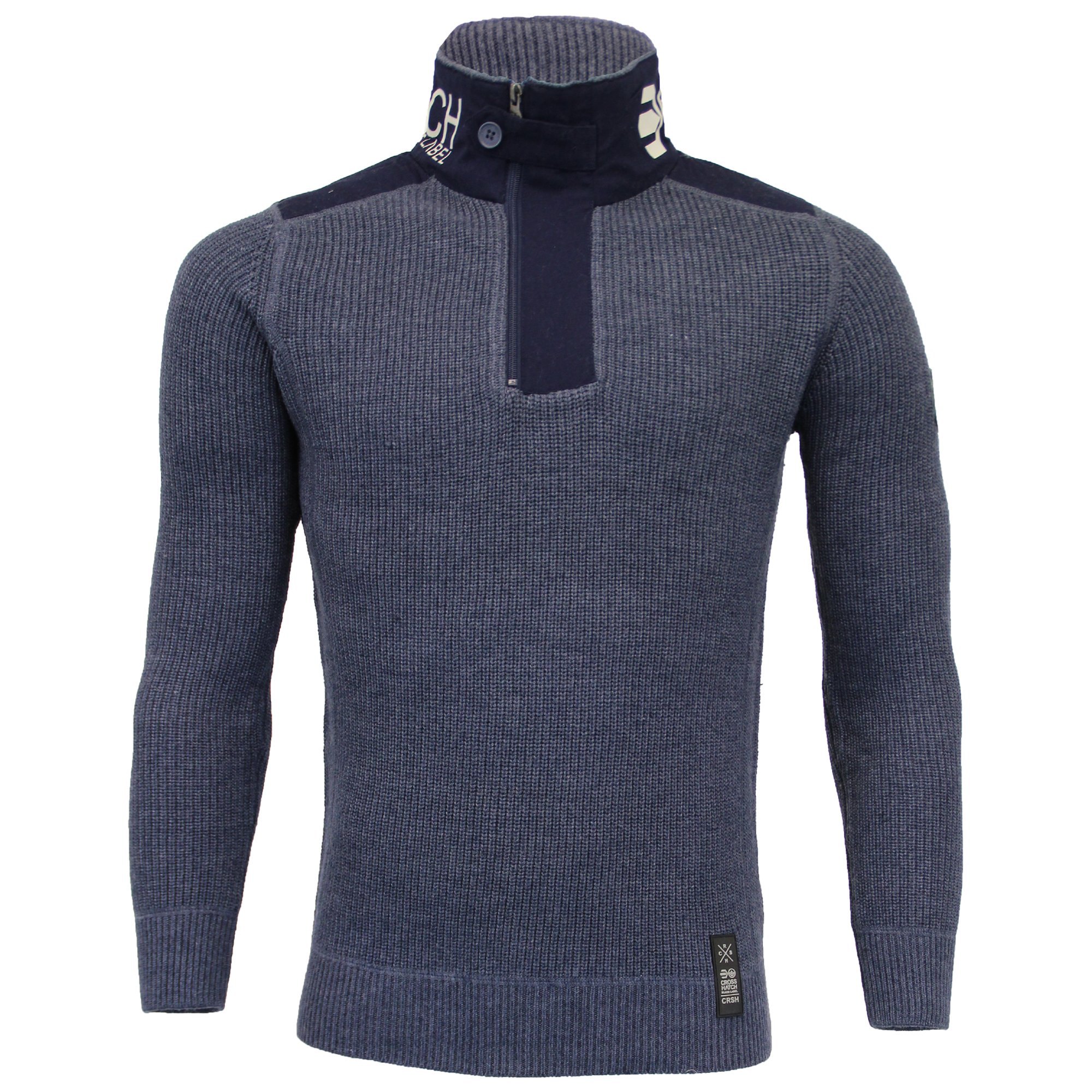 Mens-Knitted-Cotton-Crosshatch-Jumper-Sweater-Pullover-Waffle-Top-Zip-Winter-New thumbnail 13