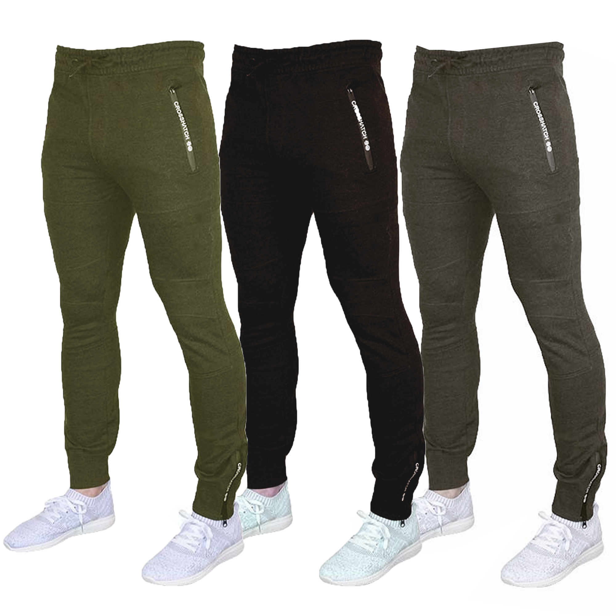 Mens-Bottoms-Crosshatch-Jogging-Pants-Cuffed-Trousers-Running-Gym-Warm-Fashion thumbnail 3