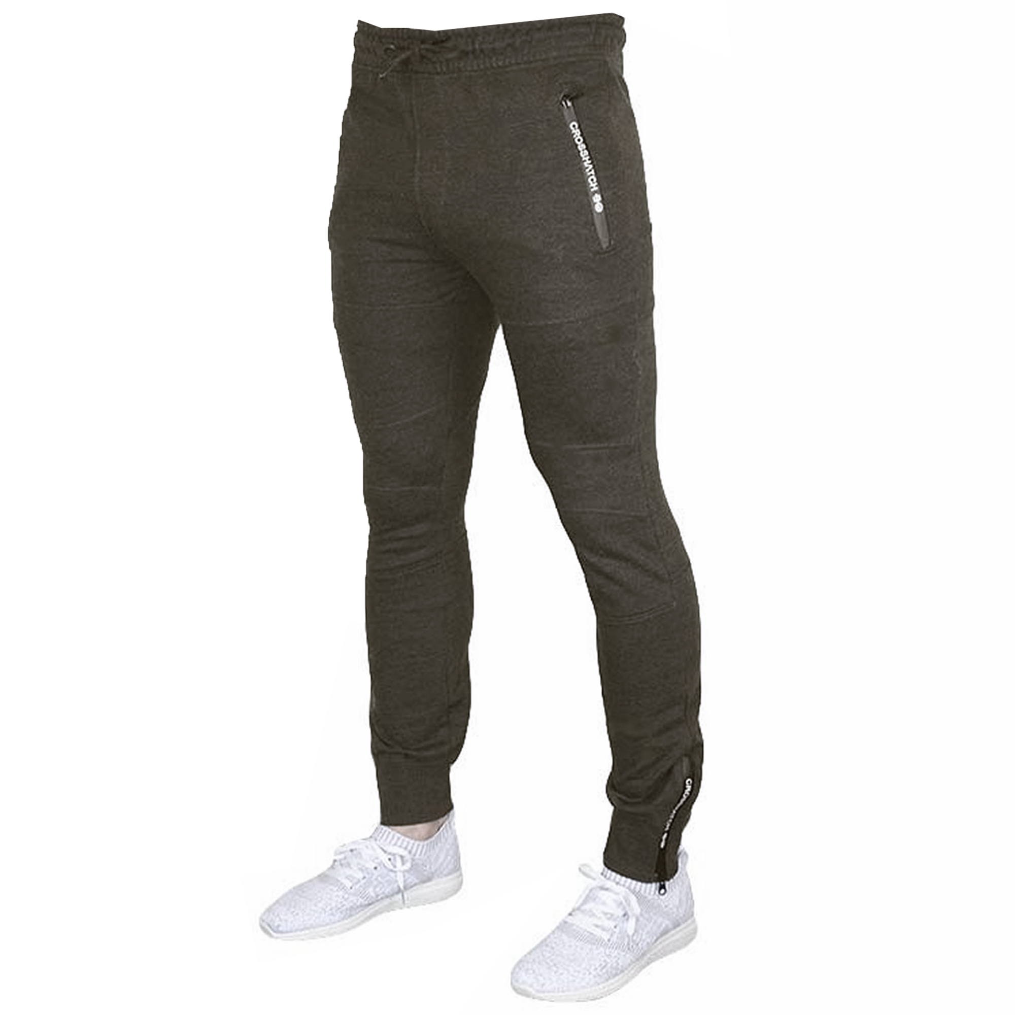 Mens-Bottoms-Crosshatch-Jogging-Pants-Cuffed-Trousers-Running-Gym-Warm-Fashion thumbnail 4