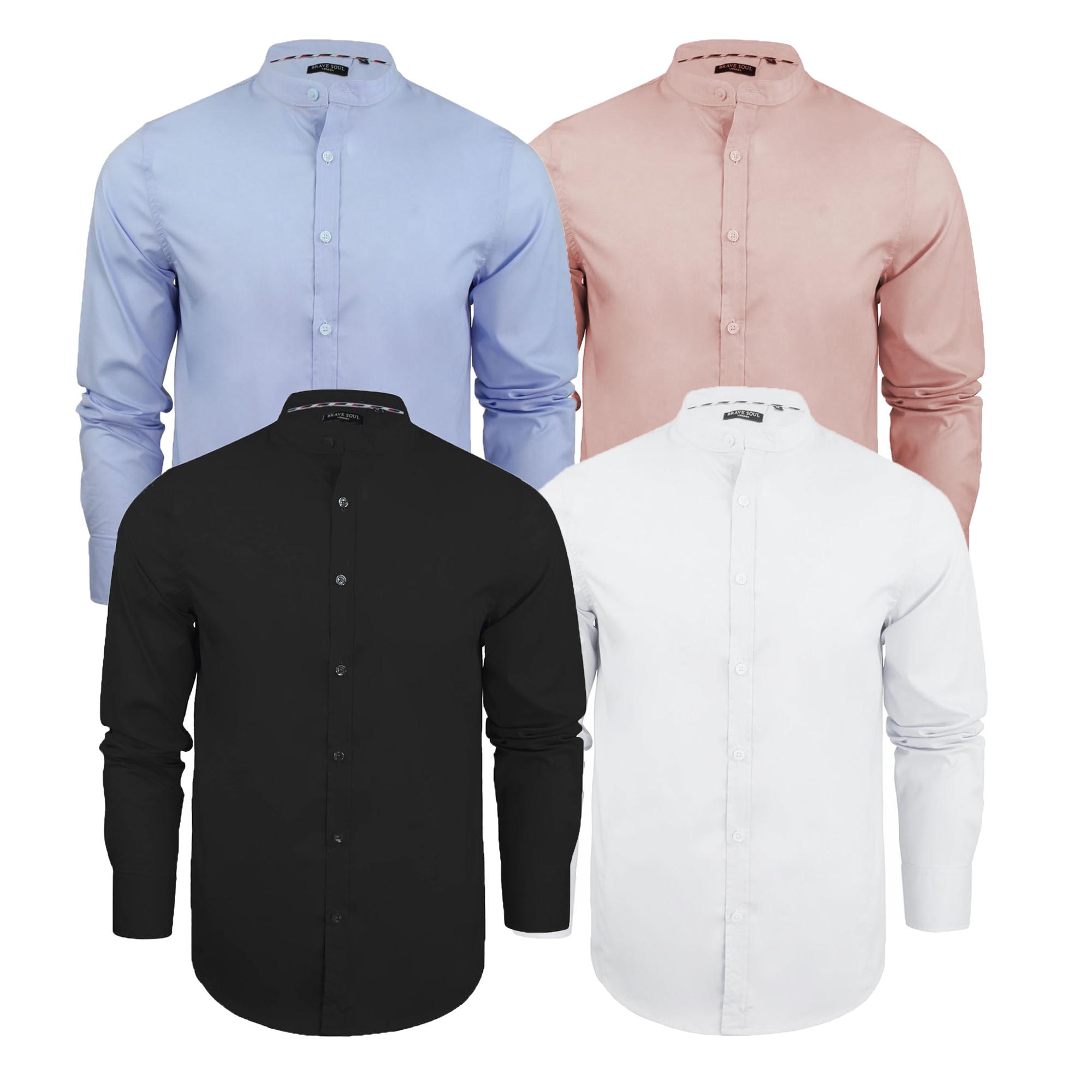 d7cbf2469 Detalles de Camisas lisas, alma valiente para hombre de manga larga Grandad  Collar Botón Moda Informal- ver título original