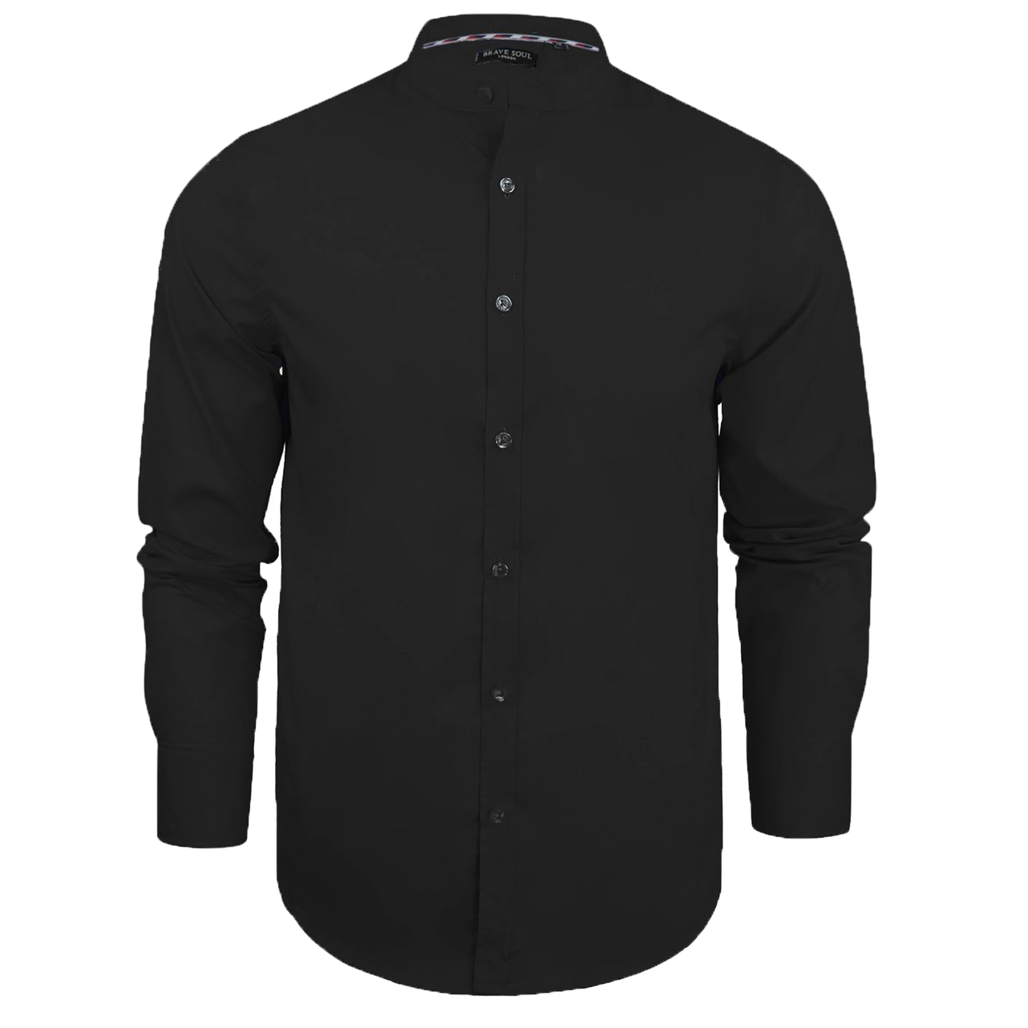 Mens plain shirts brave soul long sleeved grandad collar for Mens button collar shirts