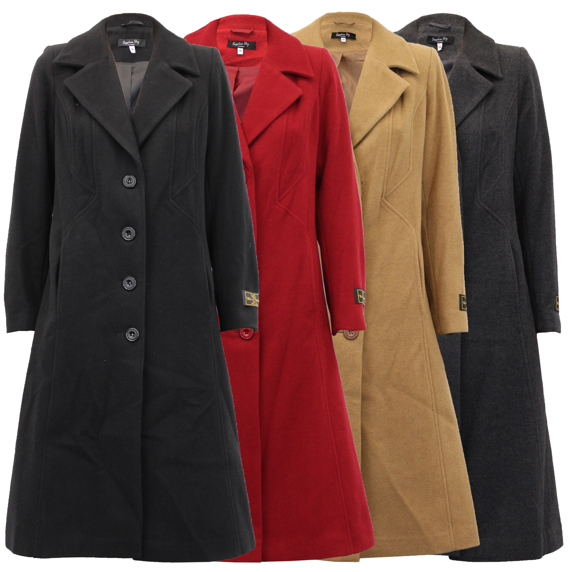 25cb0e81e616 Ladies Wool Cashmere Coat Womens Jacket Long Fashion Warm Casual ...