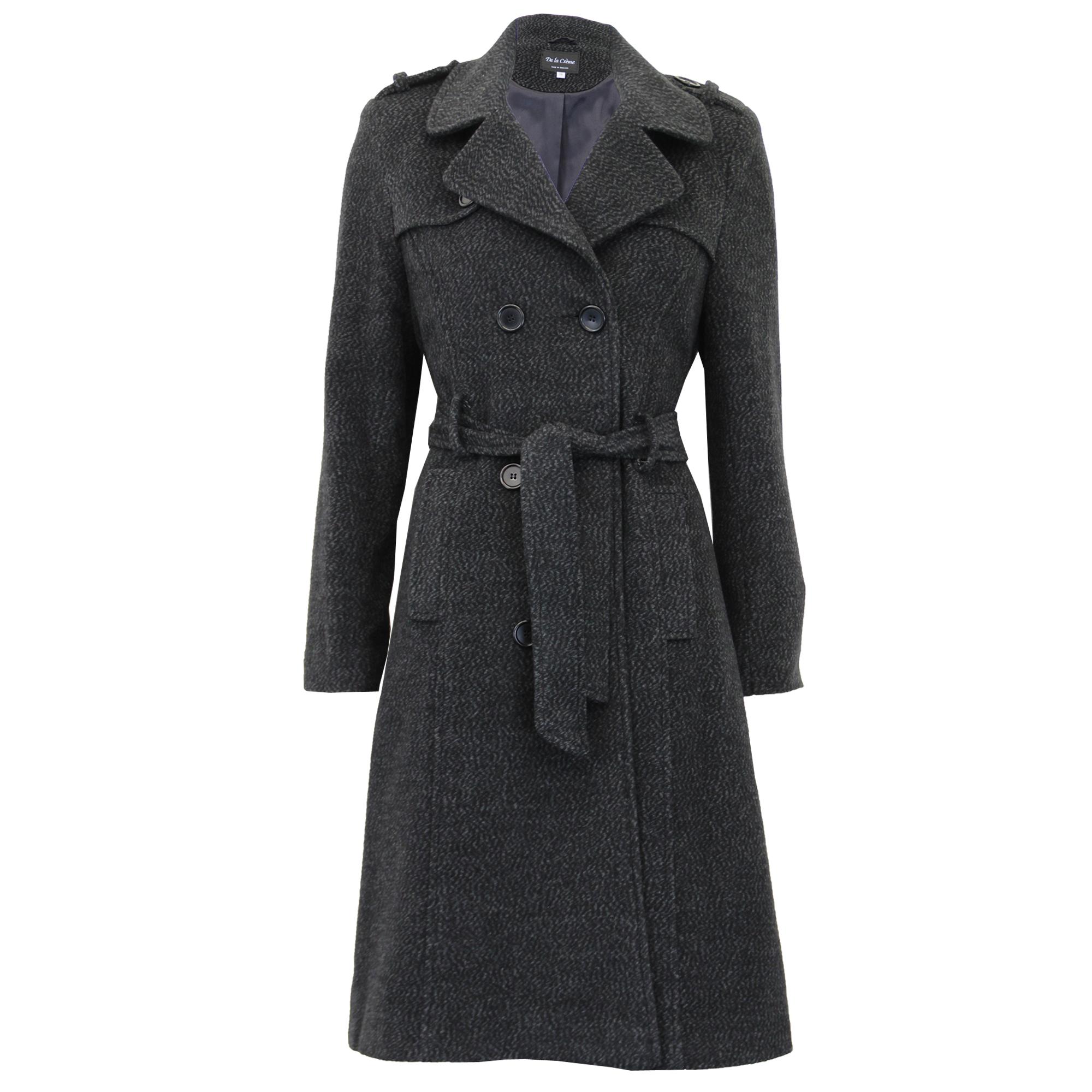 779e584cedf Ladies Wool Coat Womens Long Jacket Double Breasted Belt Outerwear ...
