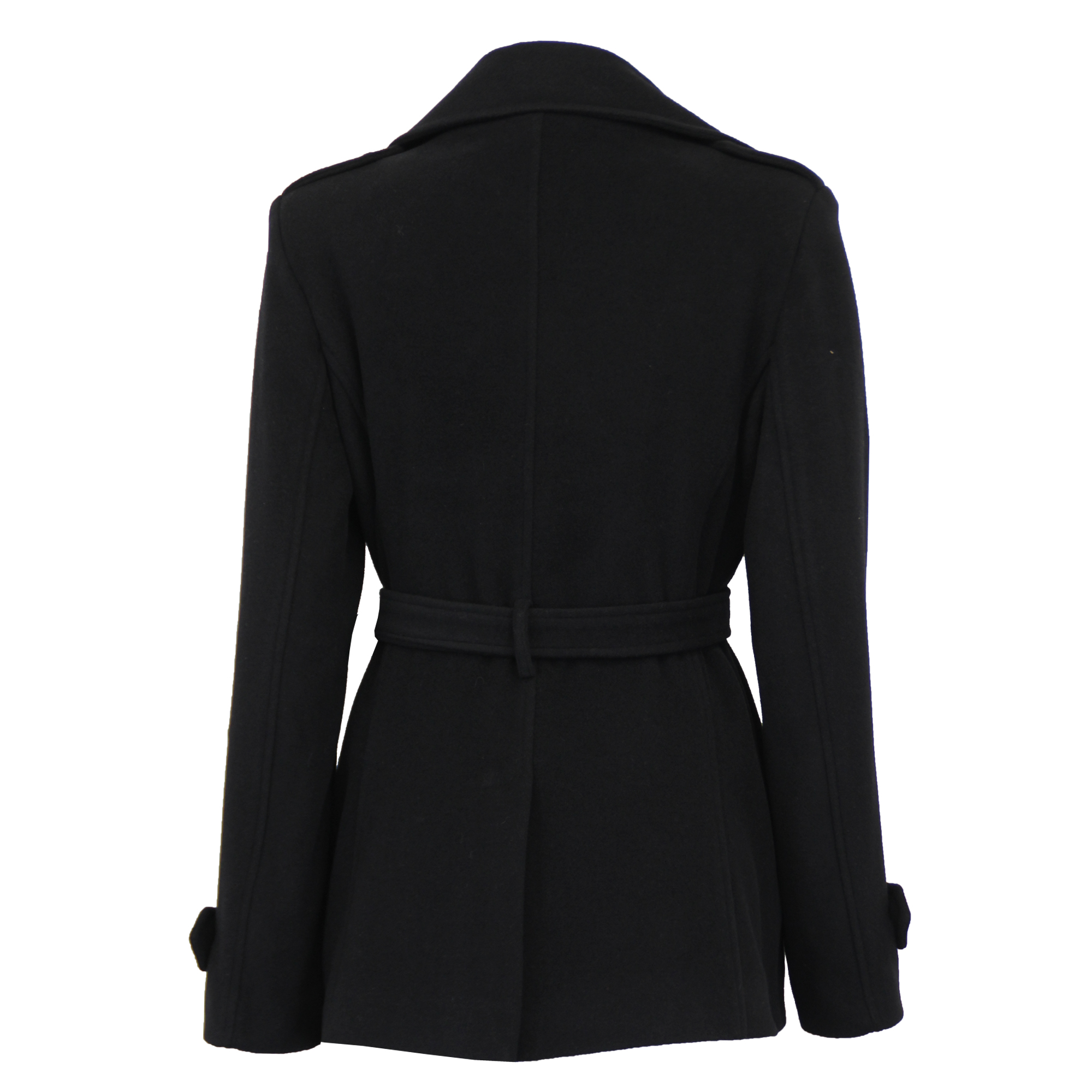 Ladies-Wool-Cashmere-Coat-Womens-Jacket-Double-Breasted-Belt-Checked-Trench-New thumbnail 3