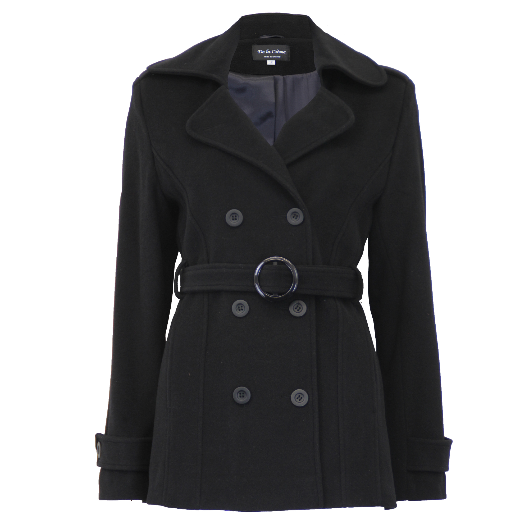 Ladies-Wool-Cashmere-Coat-Womens-Jacket-Double-Breasted-Belt-Checked-Trench-New thumbnail 2