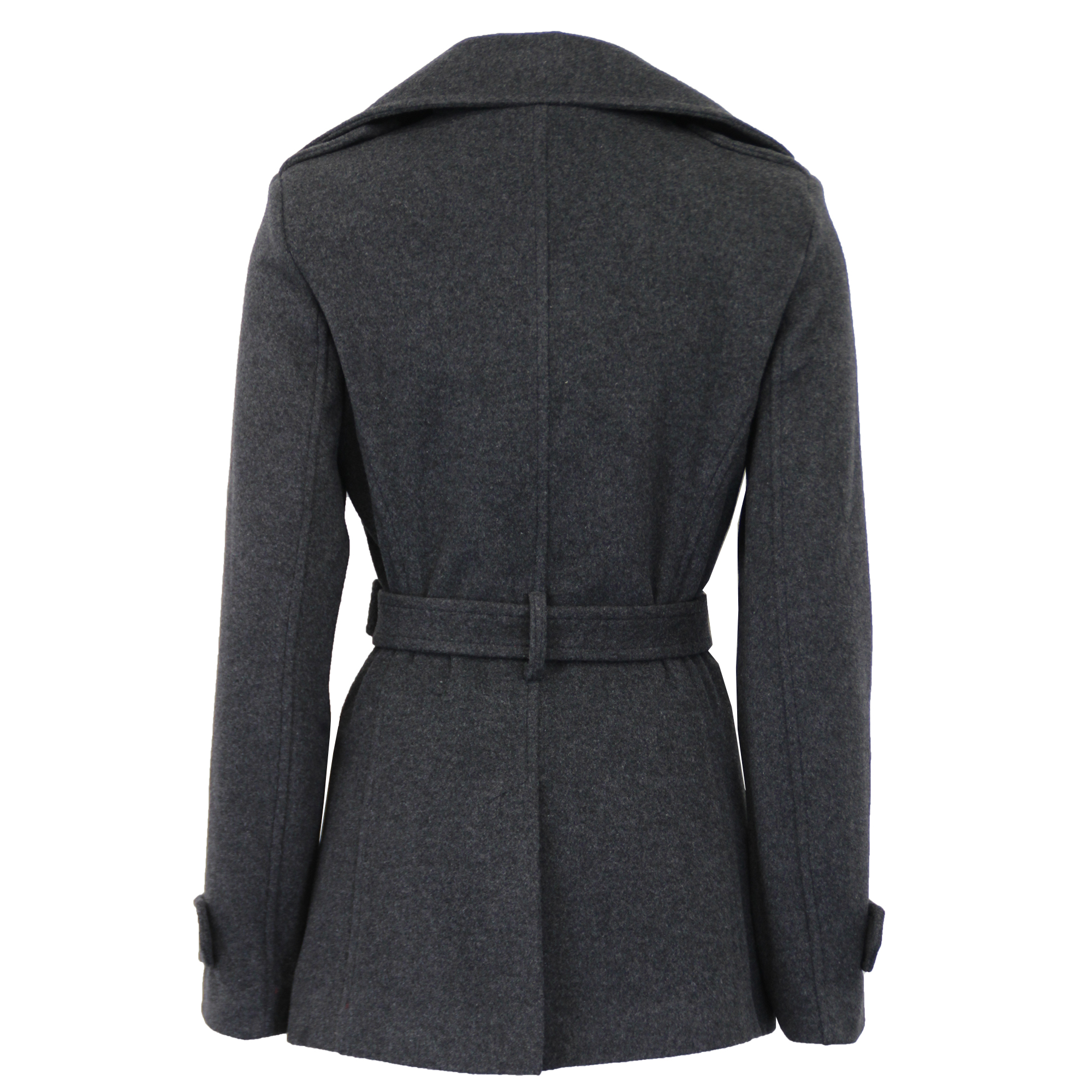 Ladies-Wool-Cashmere-Coat-Womens-Jacket-Double-Breasted-Belt-Checked-Trench-New thumbnail 12