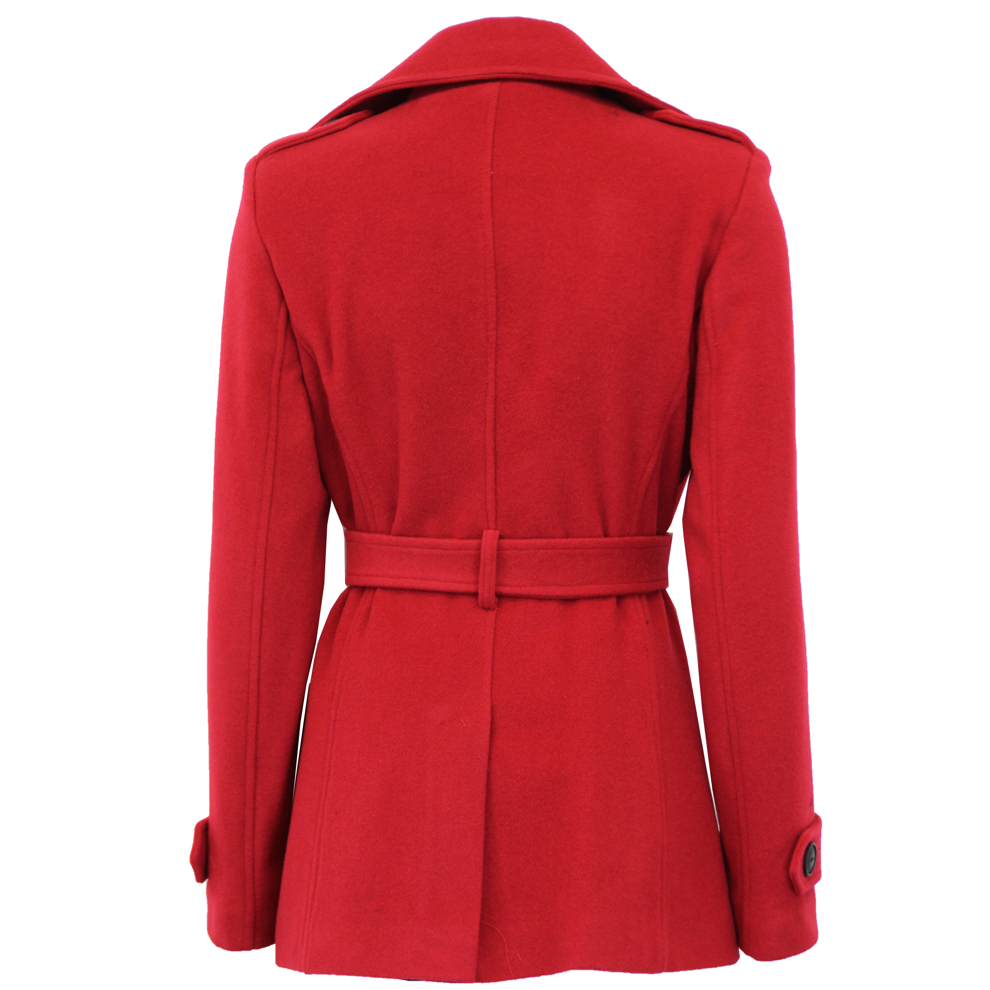 Ladies-Wool-Cashmere-Coat-Womens-Jacket-Double-Breasted-Belt-Checked-Trench-New thumbnail 18