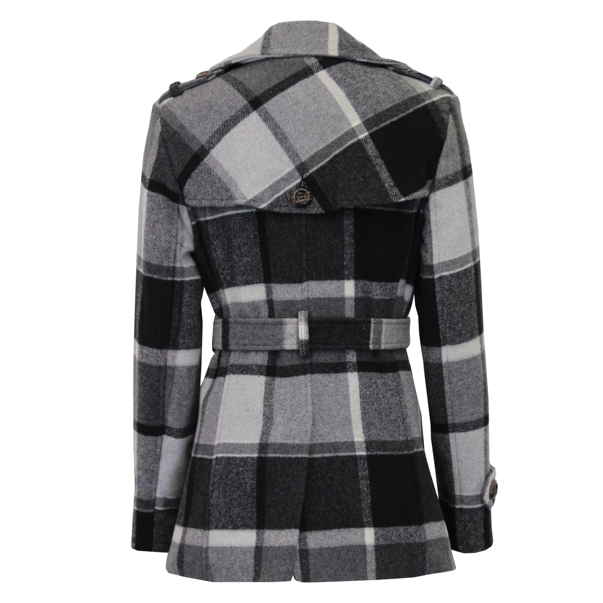 Ladies-Wool-Cashmere-Coat-Womens-Jacket-Double-Breasted-Belt-Checked-Trench-New thumbnail 15