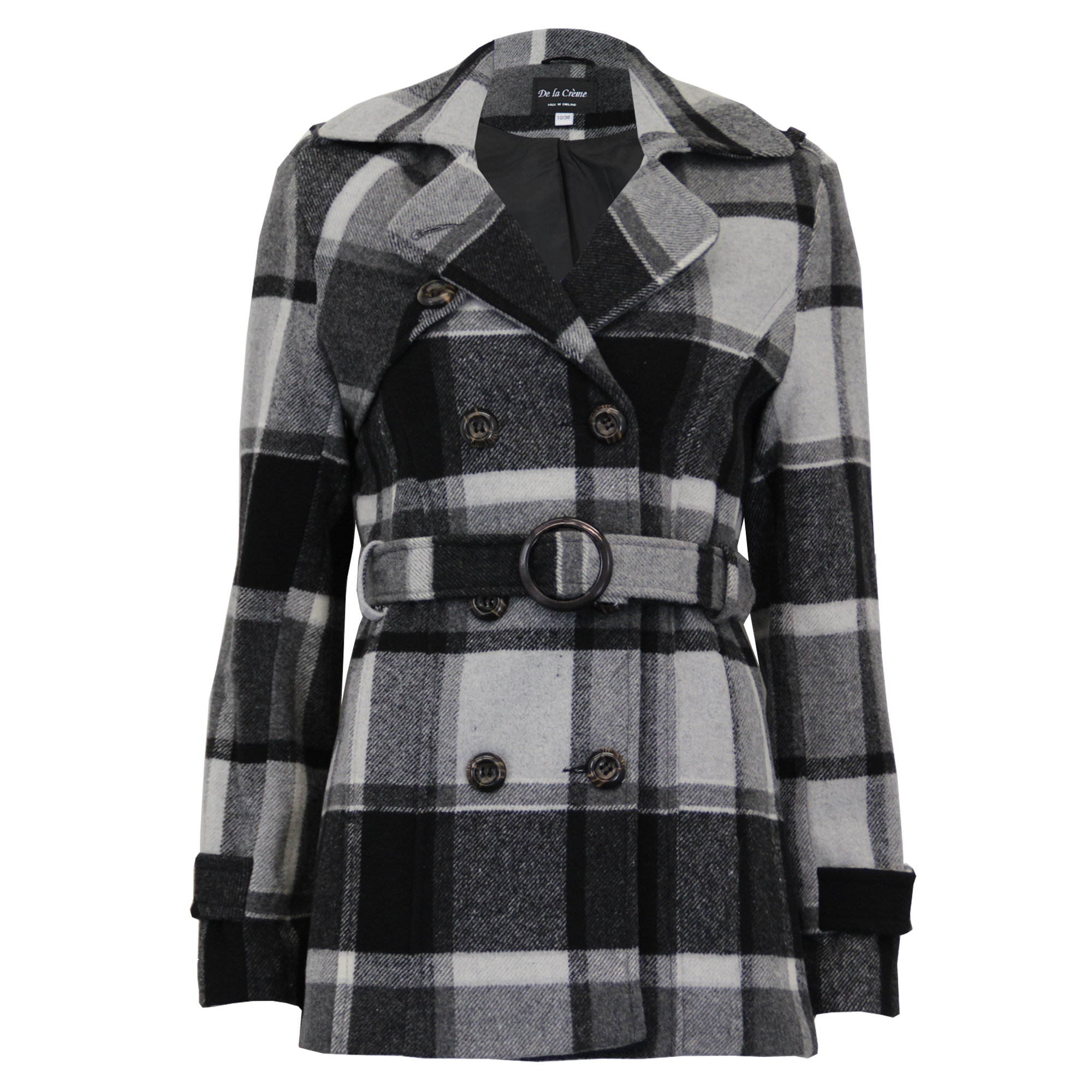 Ladies-Wool-Cashmere-Coat-Womens-Jacket-Double-Breasted-Belt-Checked-Trench-New thumbnail 14