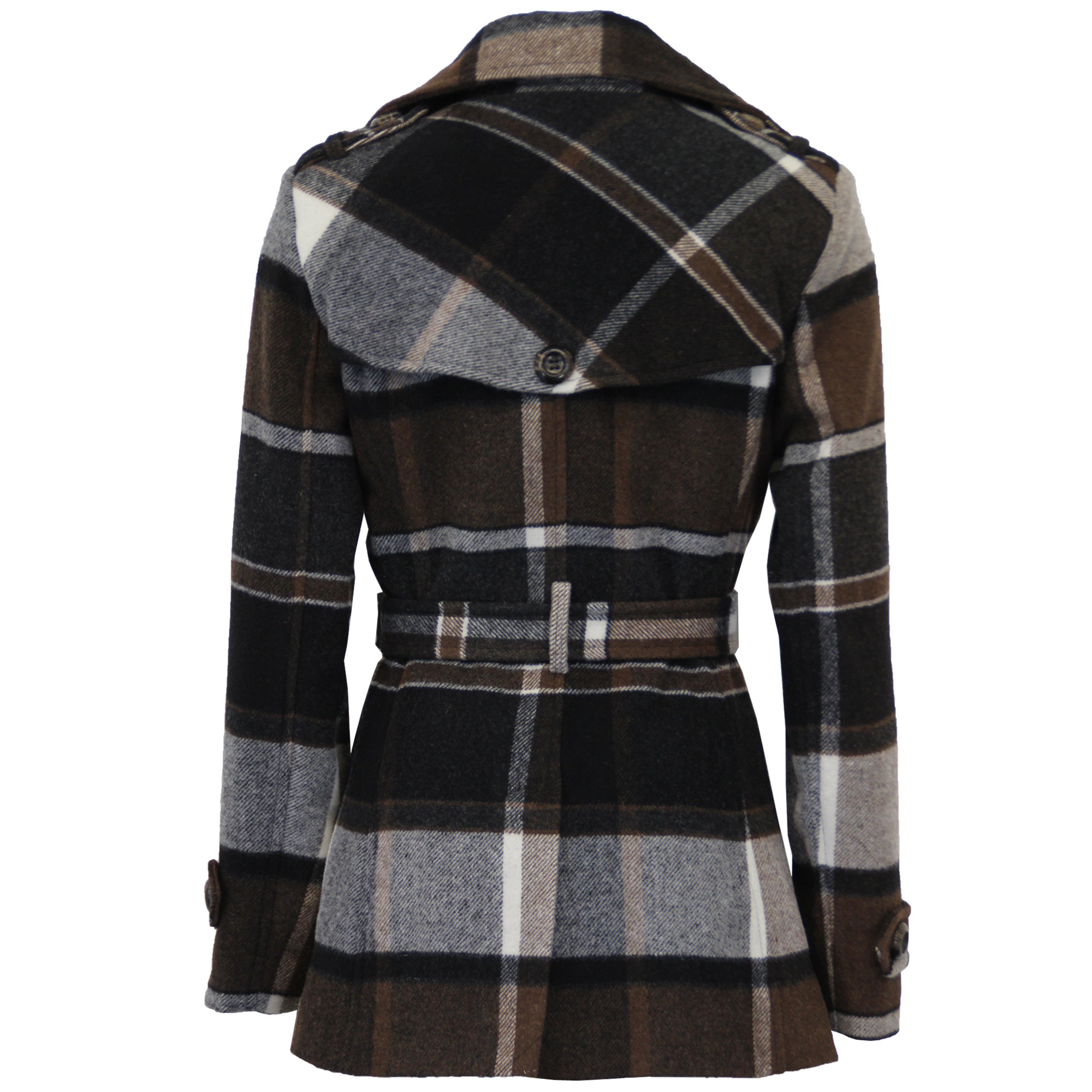 Ladies-Wool-Cashmere-Coat-Womens-Jacket-Double-Breasted-Belt-Checked-Trench-New thumbnail 6