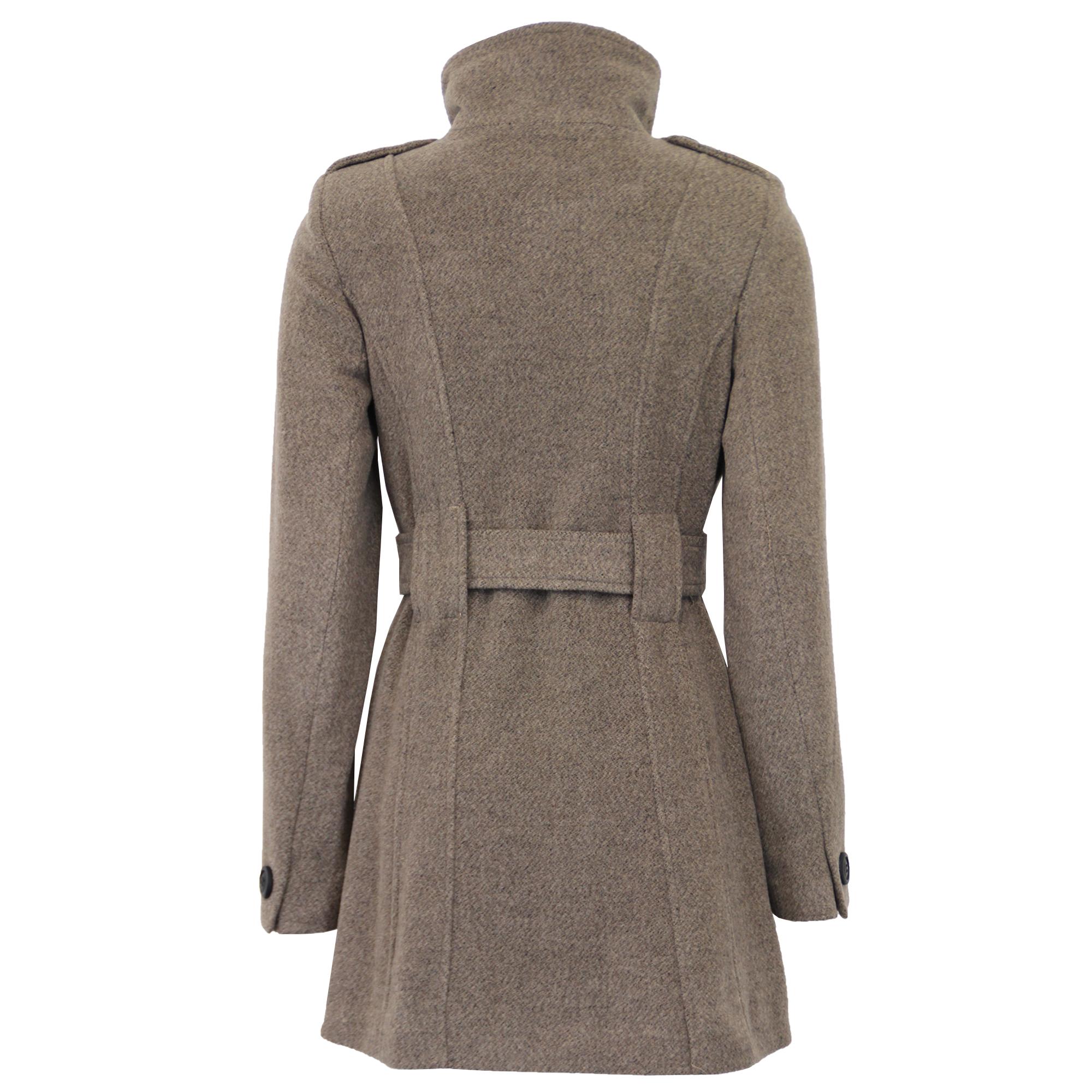 Ladies Wool Coat Womens Jacket Double Breasted Belt ...