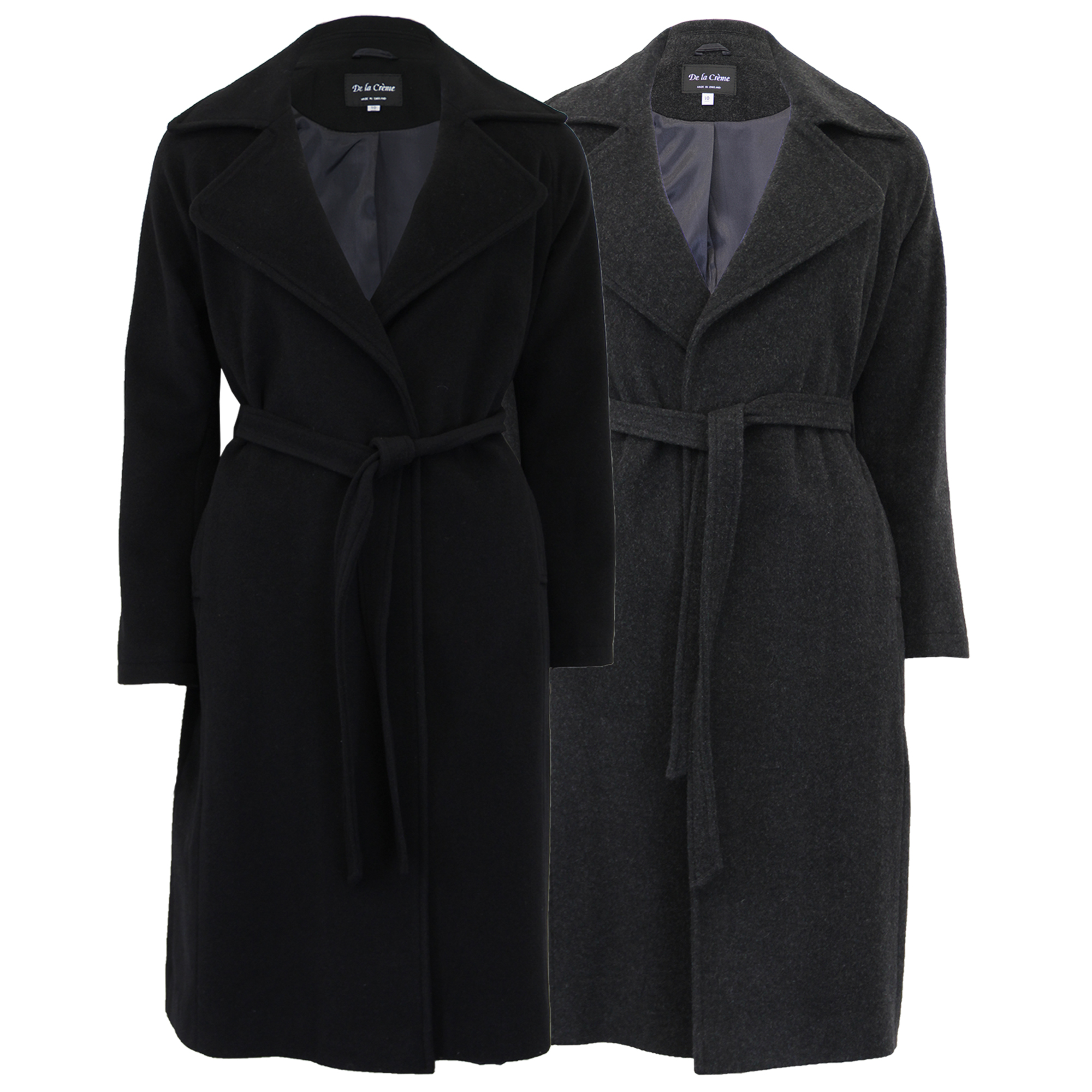 4daffef9554d4 Ladies Wool Cashmere Belted Coat Womens Long Jacket Trench Lined ...
