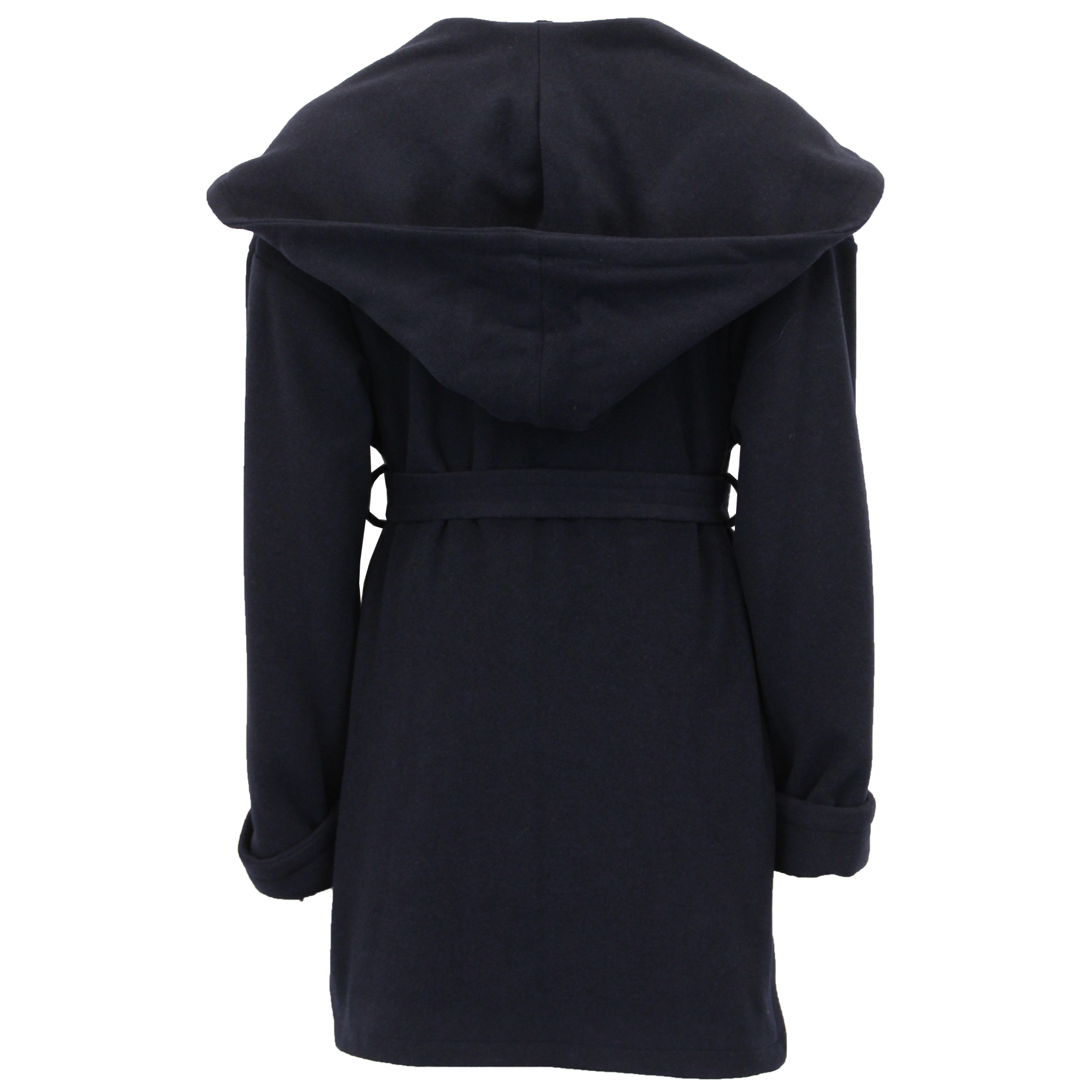 Ladies Hooded Wool Cashmere Coat Womens Belted Jacket Fashion Warm Casual Winter