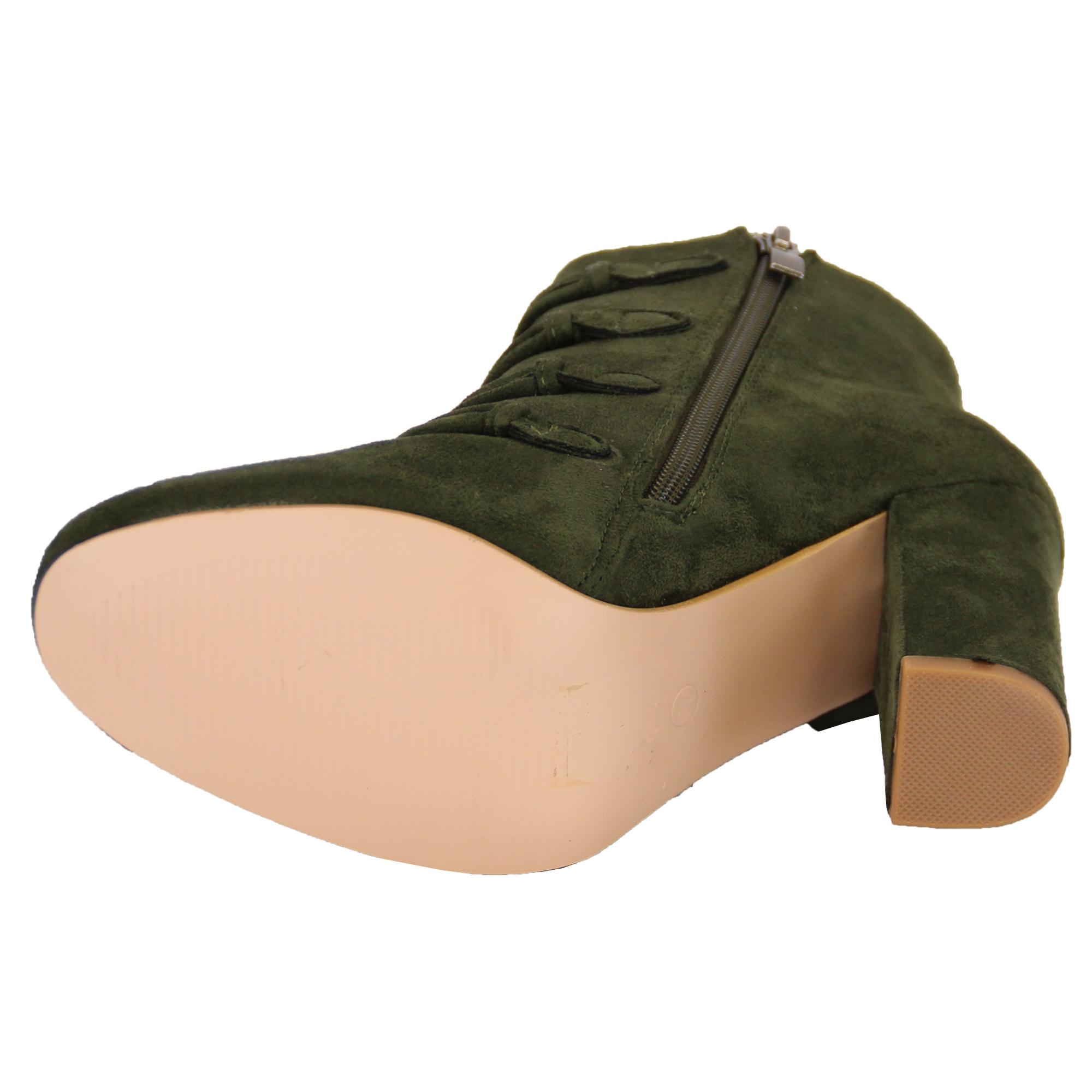 chelsea boots womens suede look block heel shoes
