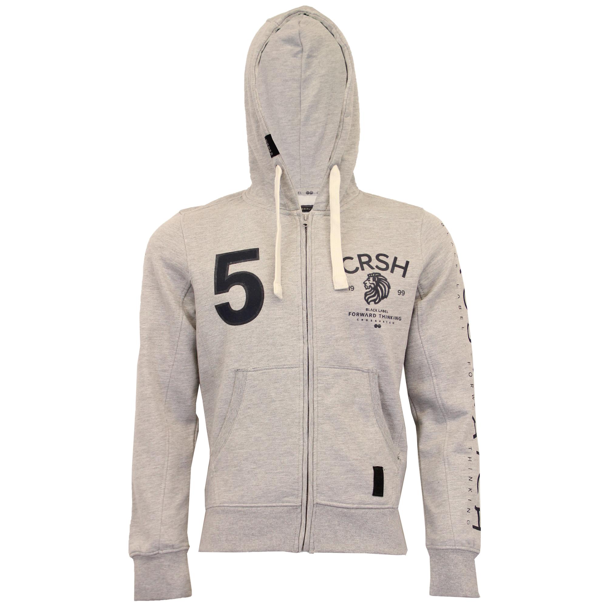 Mens-Sweatshirt-Crosshatch-Hoodie-Top-Embossed-Logo-Print-Sweat-Fleece-Lined-New thumbnail 12