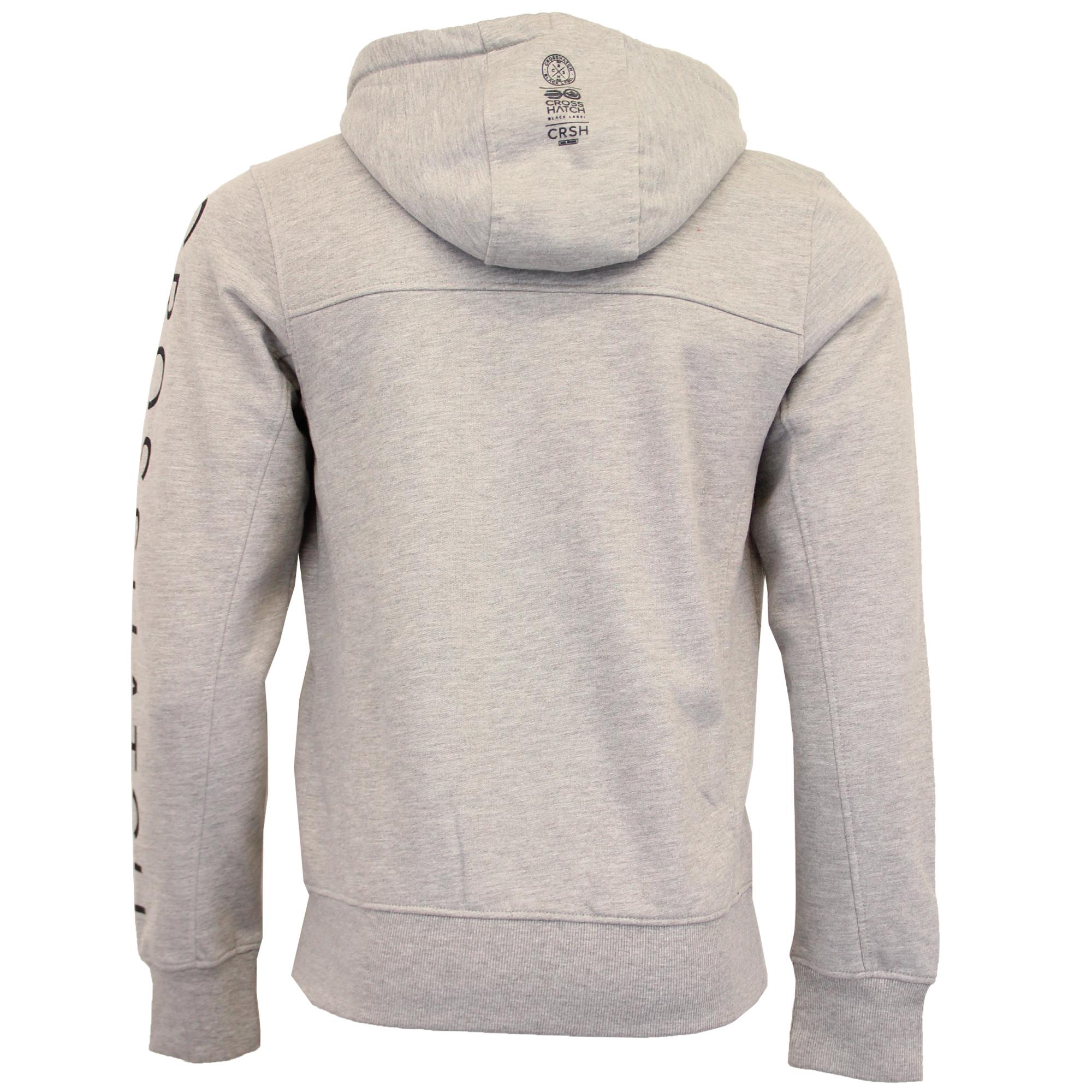 Mens-Sweatshirt-Crosshatch-Hoodie-Top-Embossed-Logo-Print-Sweat-Fleece-Lined-New thumbnail 13