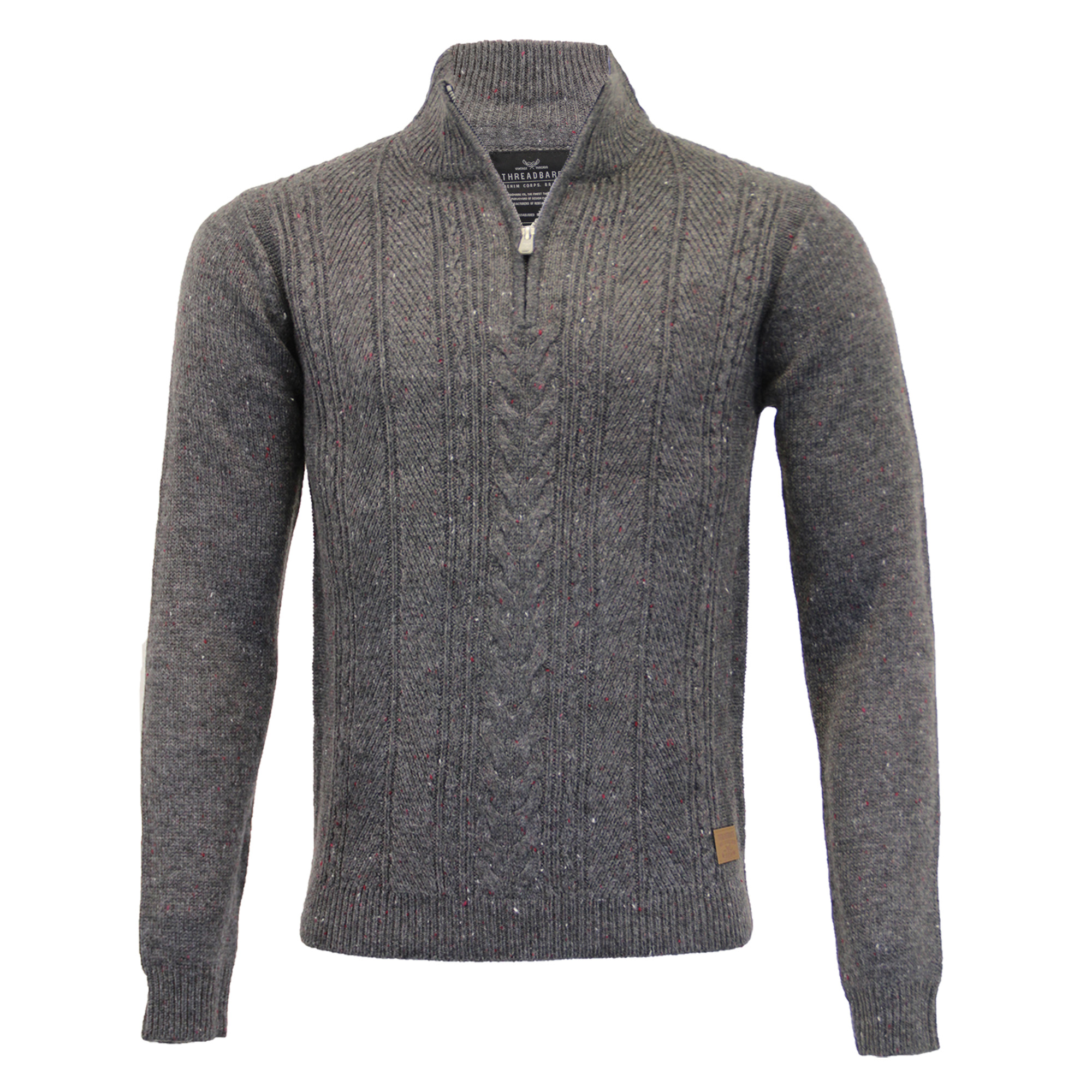 Mens-Wool-Mix-Jumper-Threadbare-Knitted-Sweater-Pullover-Top-Chunky-Zip-Winter thumbnail 11