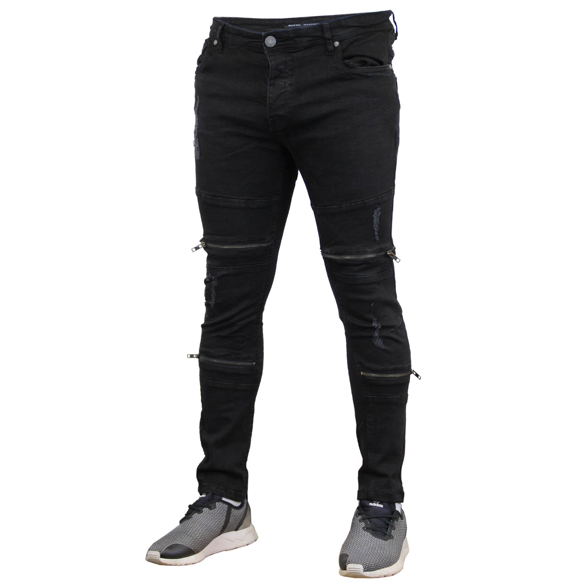 e2ca0e4be02d Mens Denim Biker Jeans Brave Soul Skinny Slim Fit Ripped Stretch ...
