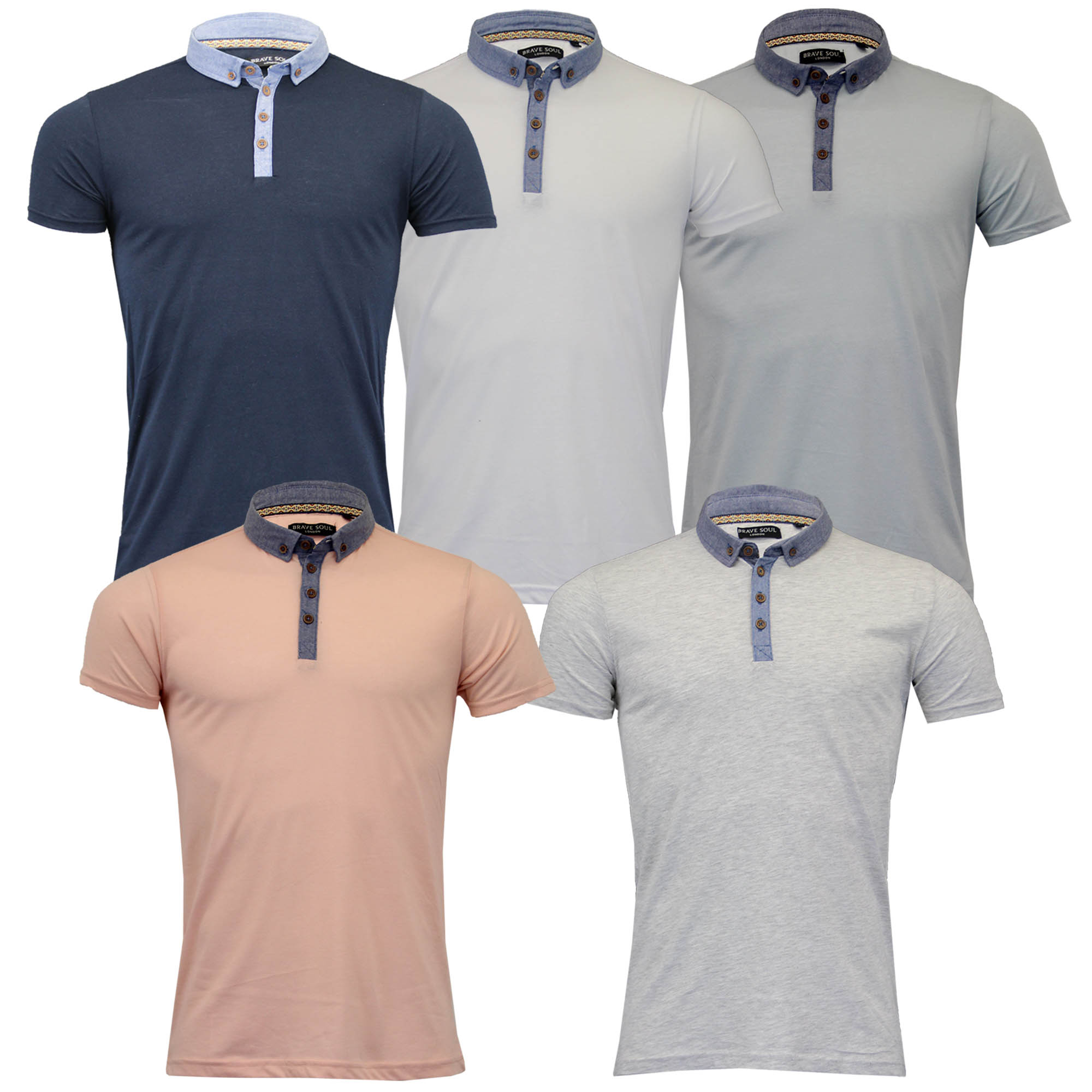 ec44a330 Mens Polo T Shirt by Brave Soul 'Chimera' Short Sleeved Chambray Top ...
