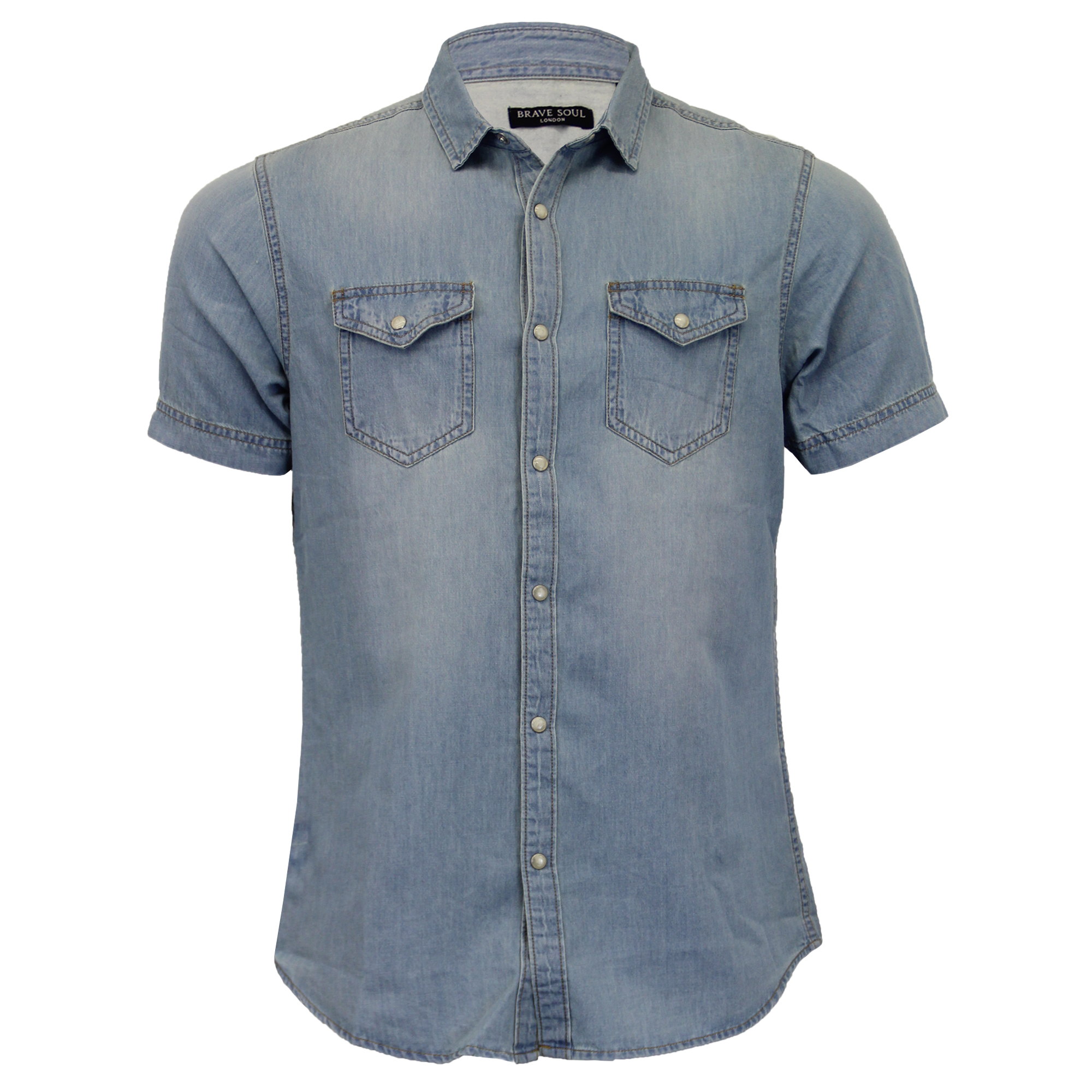 Mens-Denim-Vintage-Shirt-Brave-Soul-039-Amor-039-Short-Sleeved-Faded-Cotton-Summer thumbnail 3