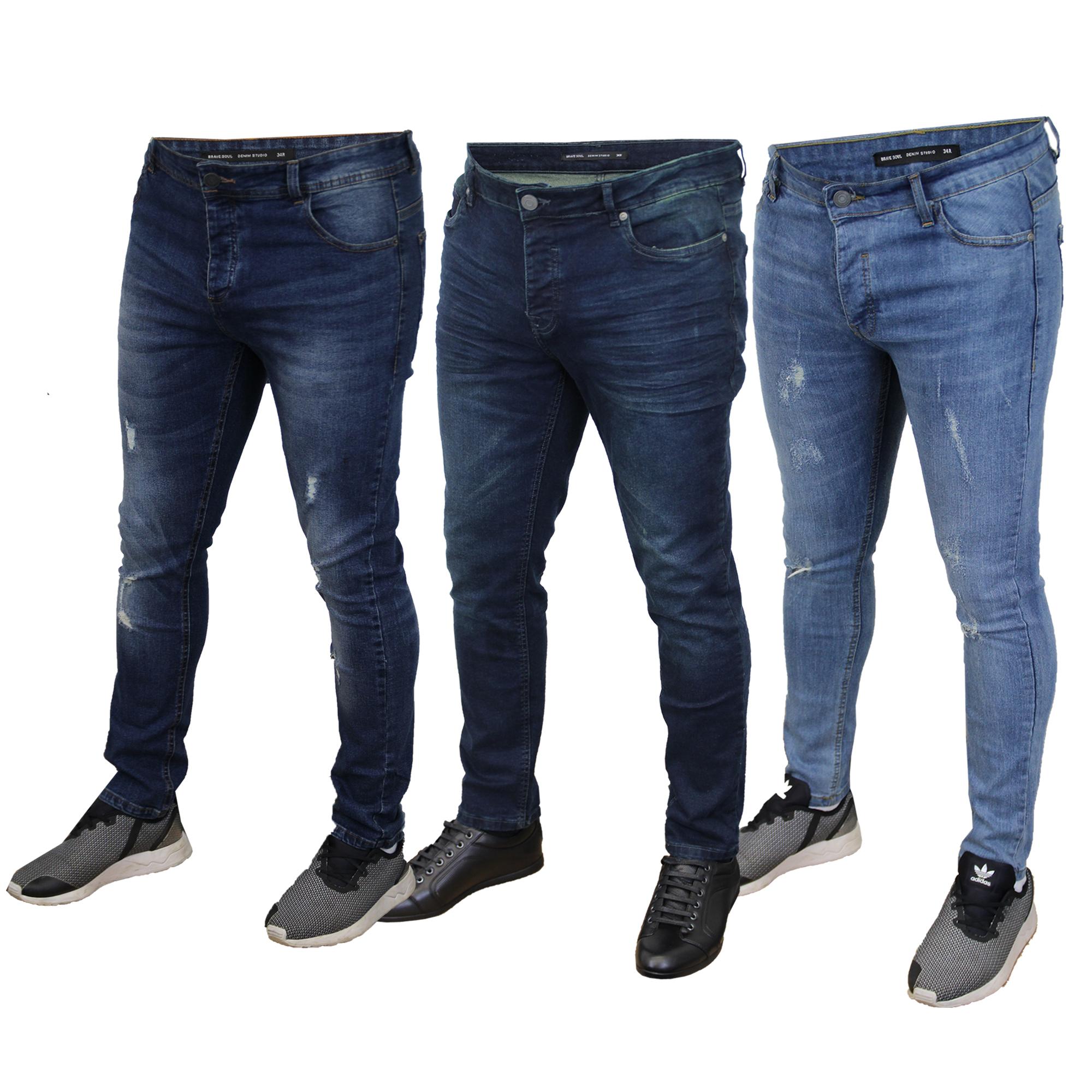 890240e9cd9 Mens Ripped Denim Jeans Brave Soul Ortiz Slim Fit Lark Stretch ...