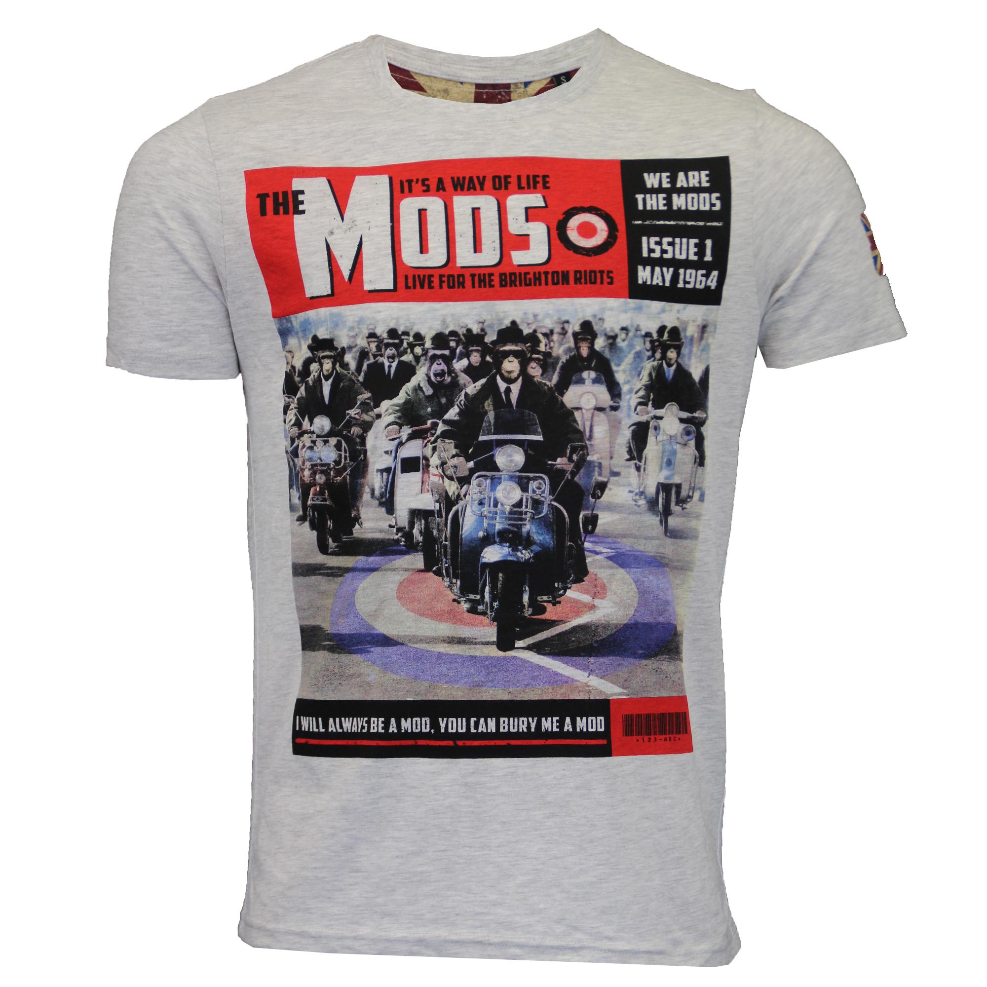 Mens t shirt brave soul 39 entwistle 39 short sleeved mods for Brighton t shirt printing