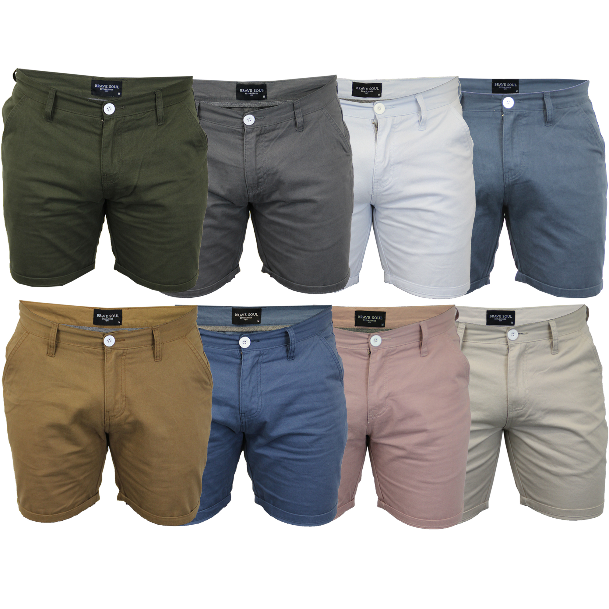 584d9f3d Details about Mens Chino Shorts Brave Soul Smith Roll Up Cotton Half Pants  Casual Summer New
